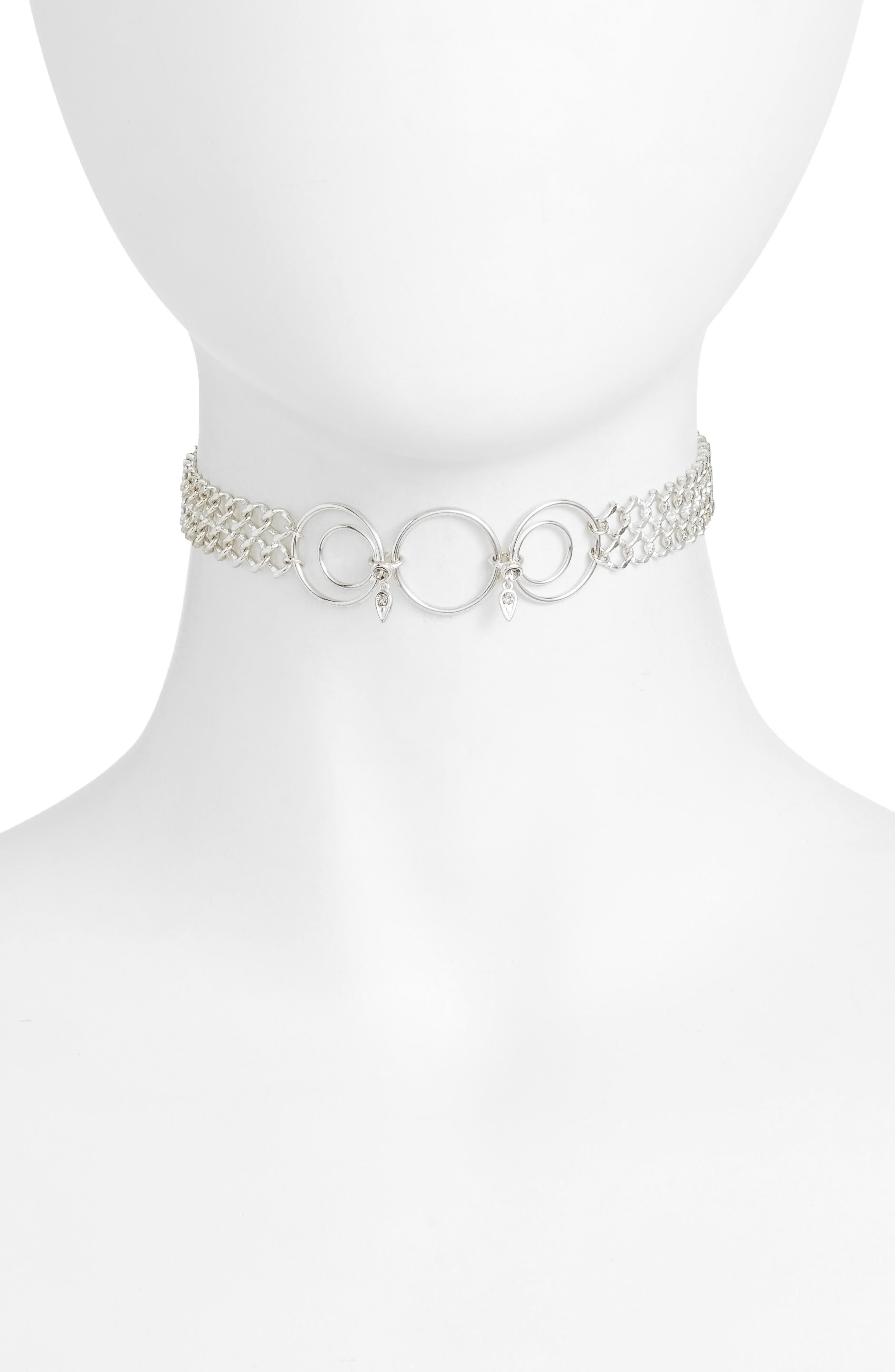 Eclipse Choker Necklace,                         Main,                         color, Silver