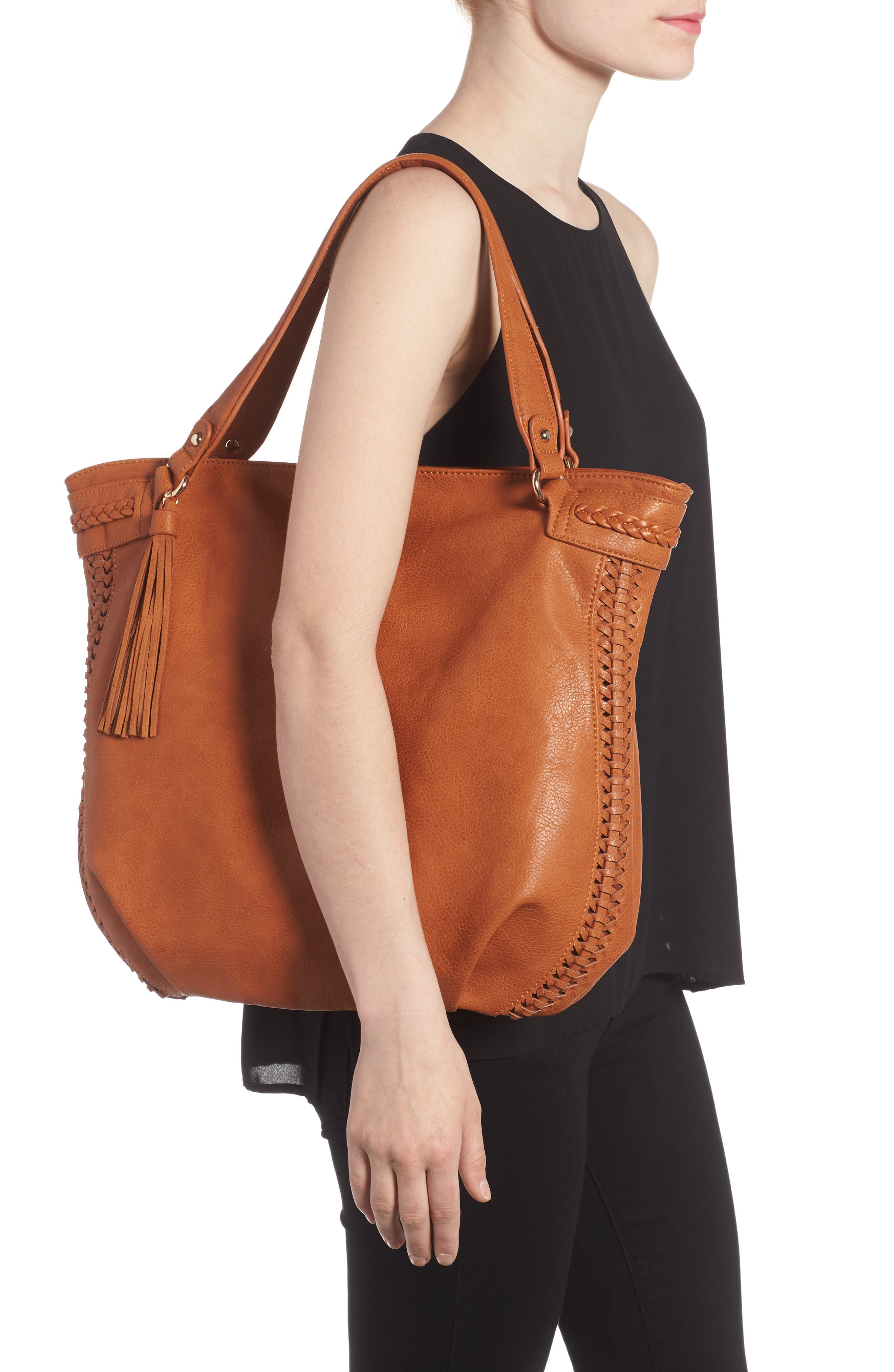 Tara Braided Faux Leather Hobo,                             Alternate thumbnail 2, color,                             Cognac