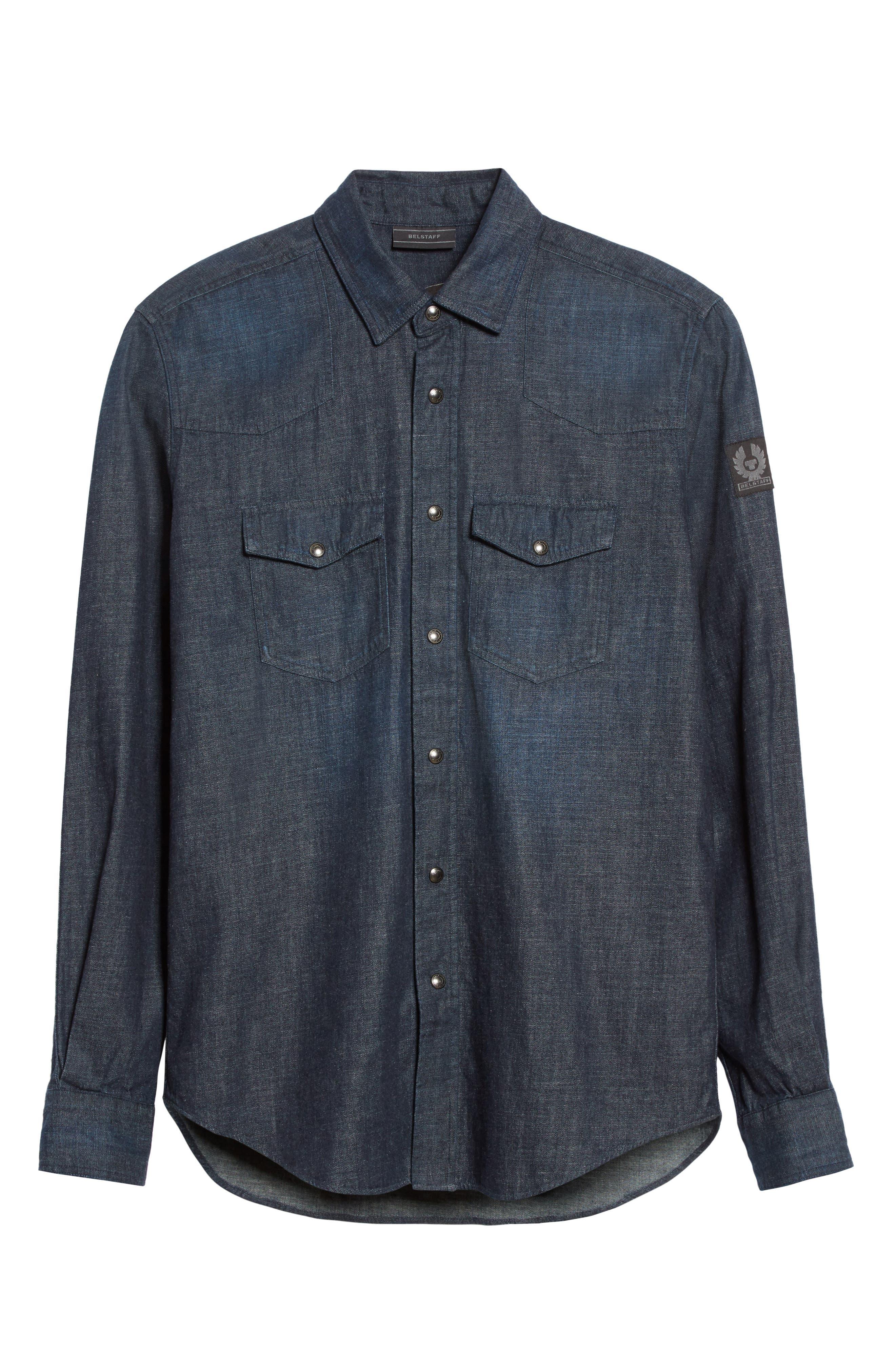 Somerford Denim Sport Shirt,                             Alternate thumbnail 6, color,                             Dark Blue