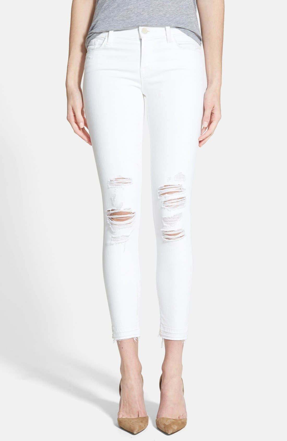 Alternate Image 1 Selected - J Brand 9326 Low Rise Crop Skinny Jeans (Destructed White Sateen Demented)