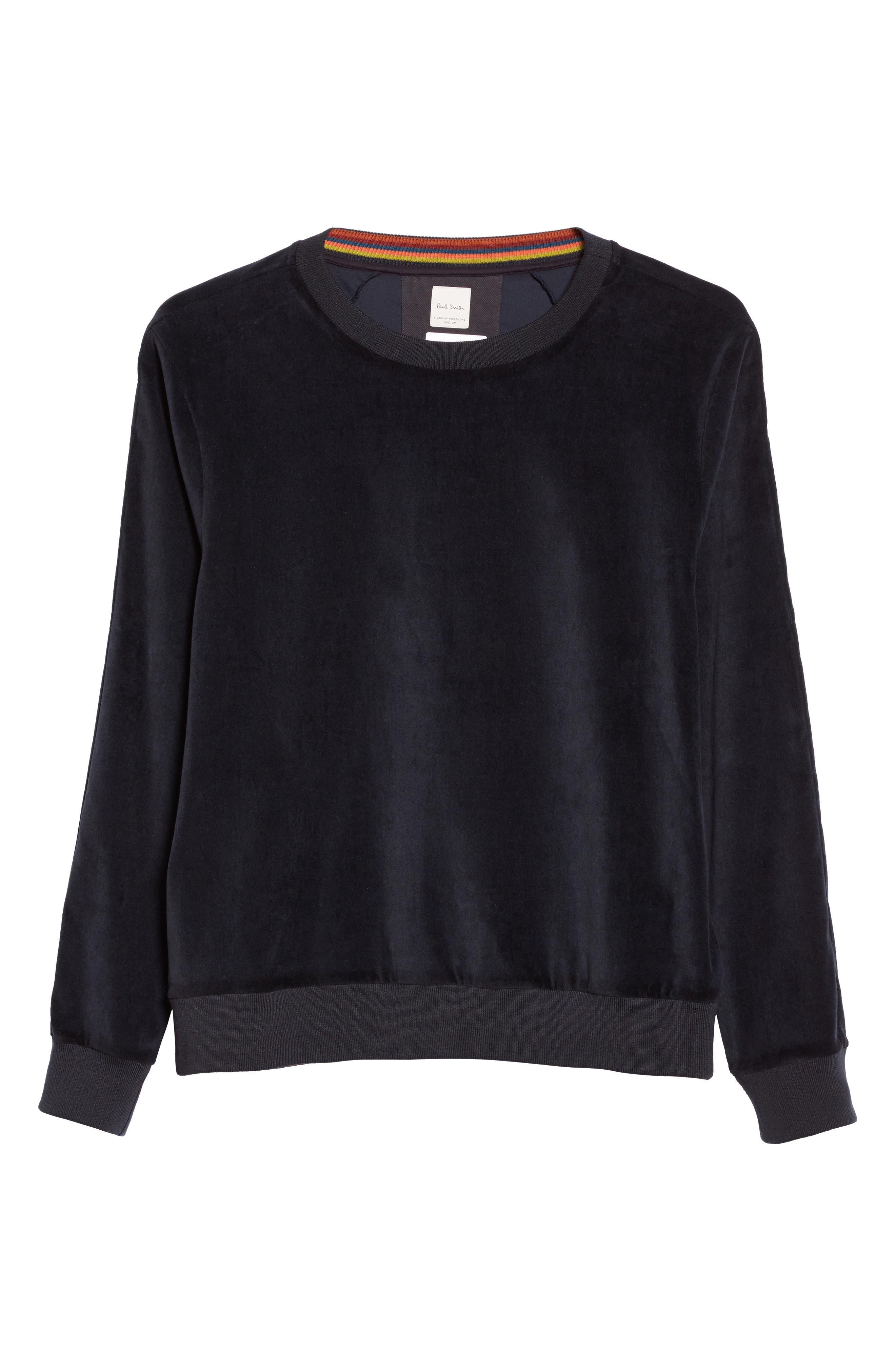 Velvet Sweatshirt,                             Alternate thumbnail 6, color,                             Navy