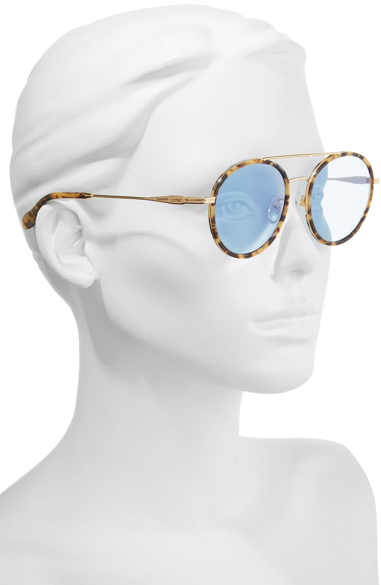 Charli 50mm Mirrored Lens Round Sunglasses,                             Alternate thumbnail 2, color,                             Brown Tortoise/ Powder Mirror