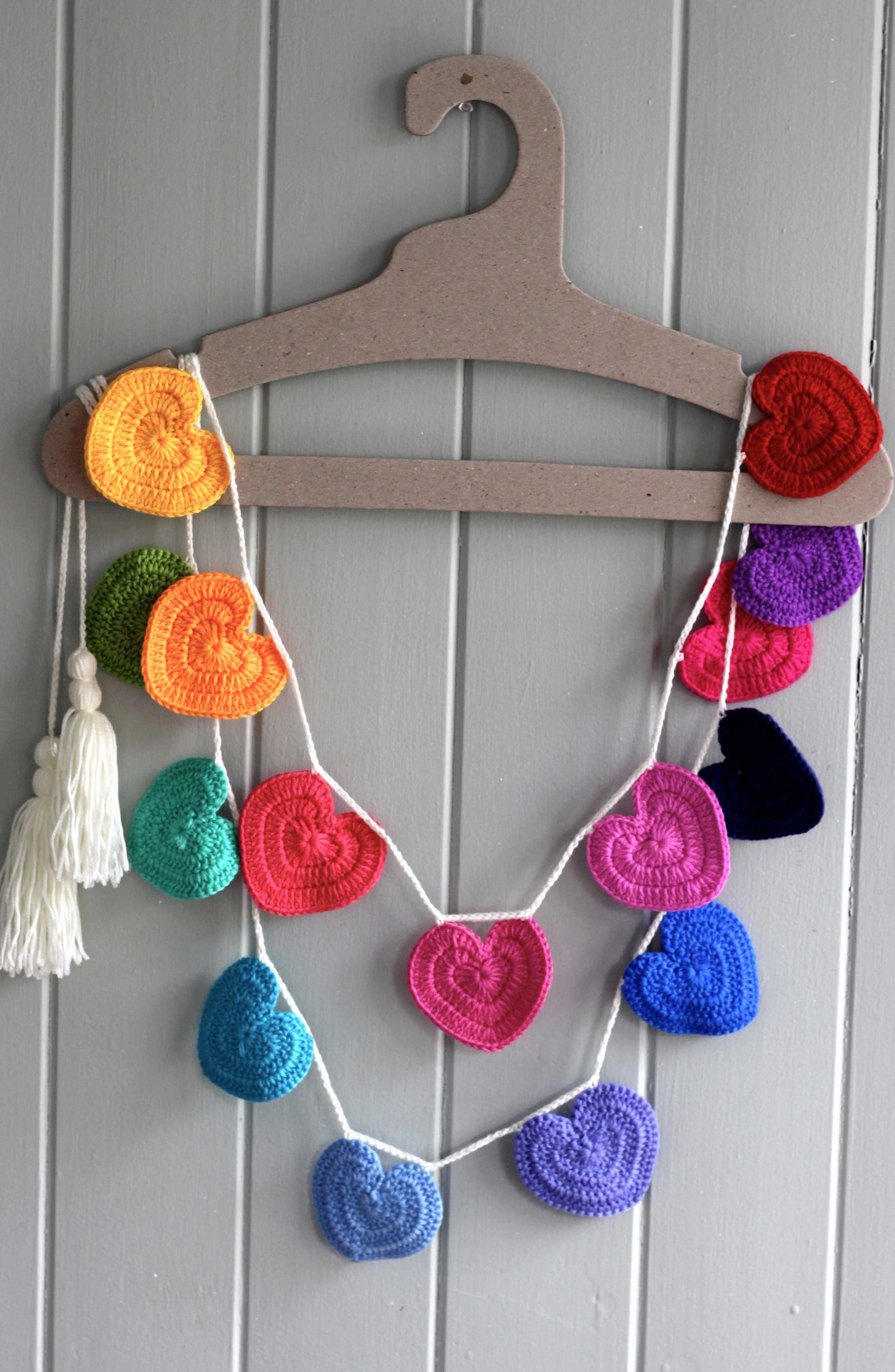 Crocheted Heart Bunting,                             Alternate thumbnail 5, color,                             Rainbow