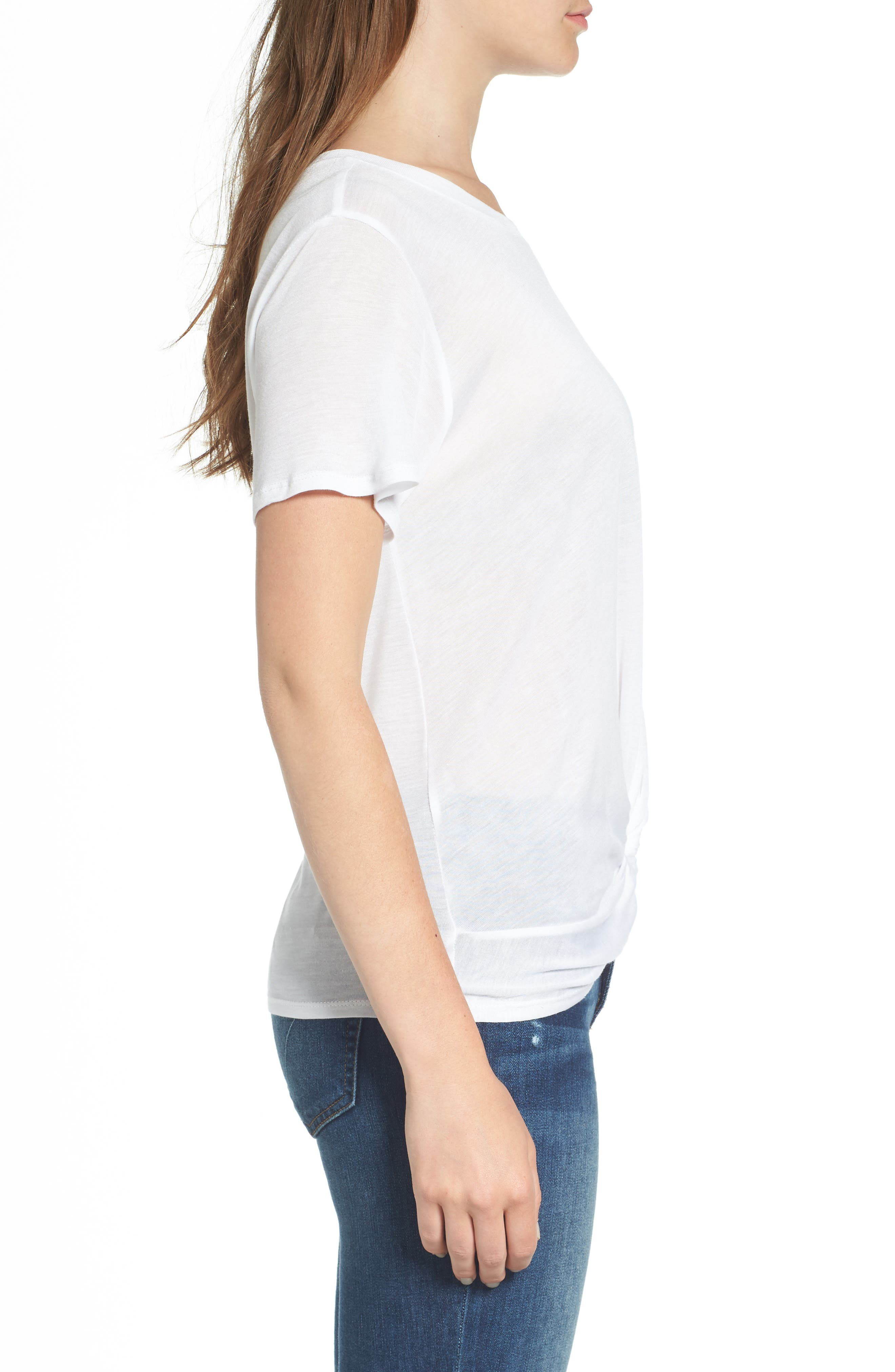 Twist Hem Tee,                             Alternate thumbnail 3, color,                             White