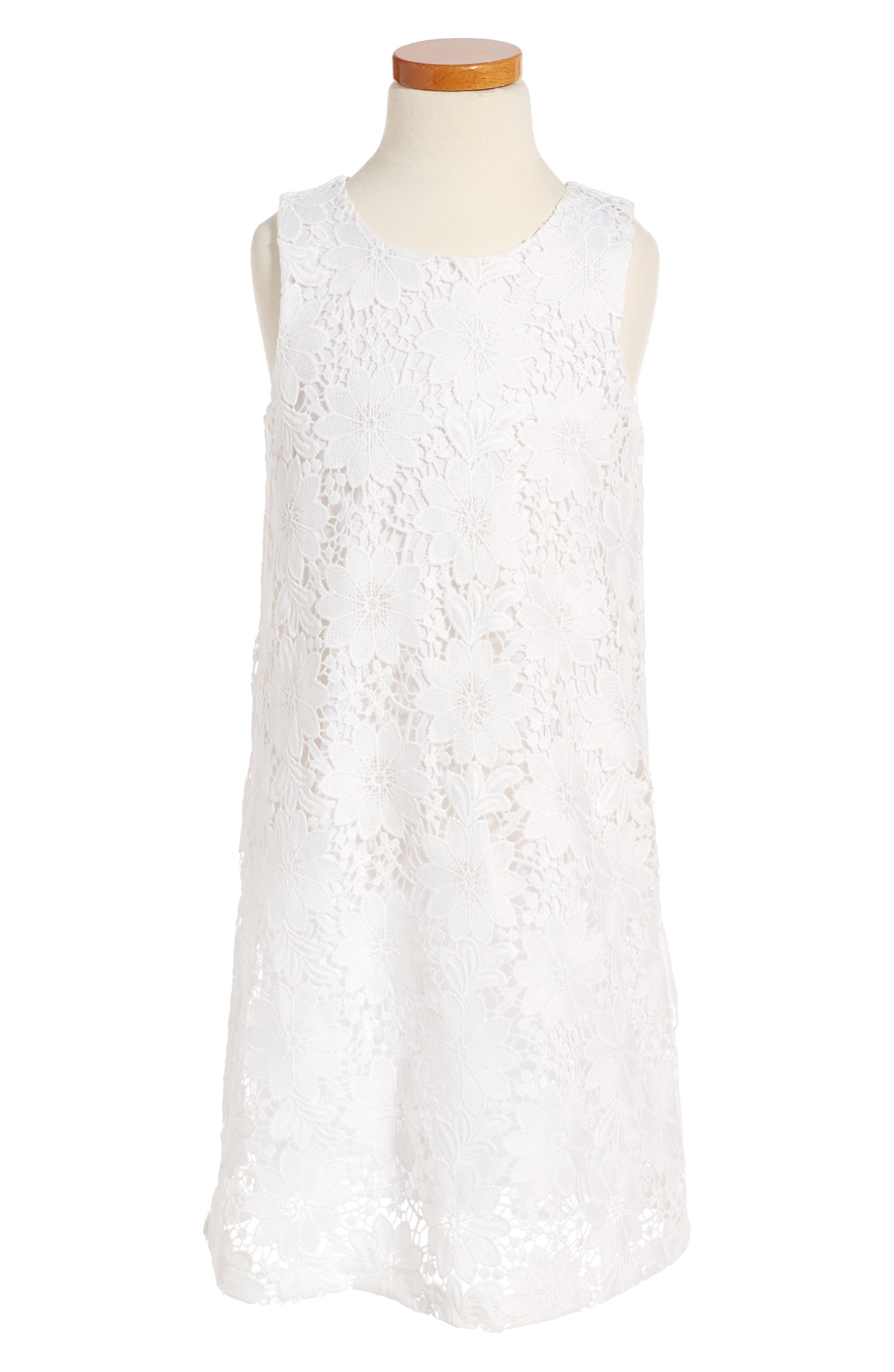 Lace Sleeveless Shift Dress,                         Main,                         color, White
