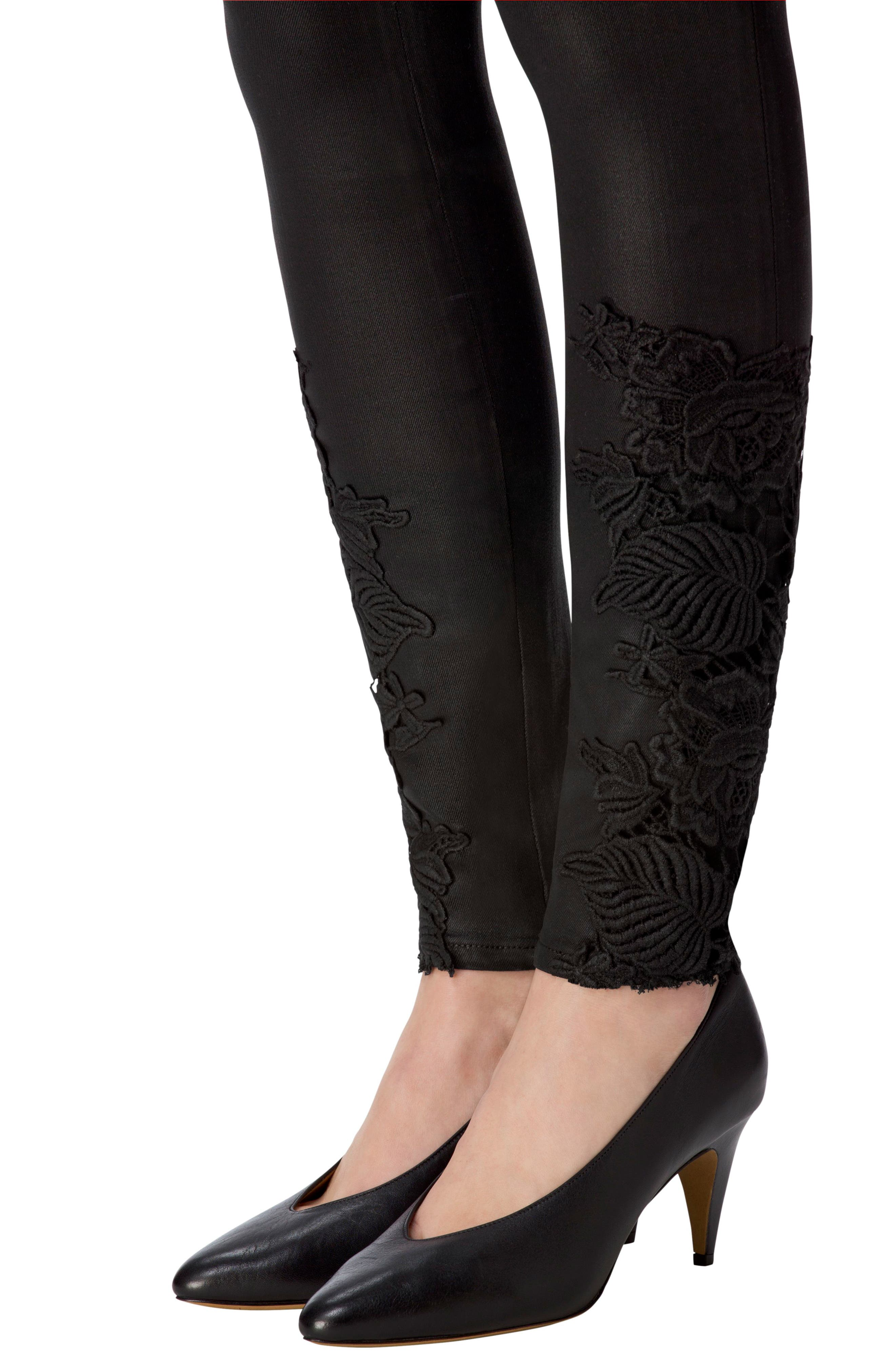 Alternate Image 4  - J Brand 620 Mid Rise Super Skinny Jeans (Coated Black Lace)