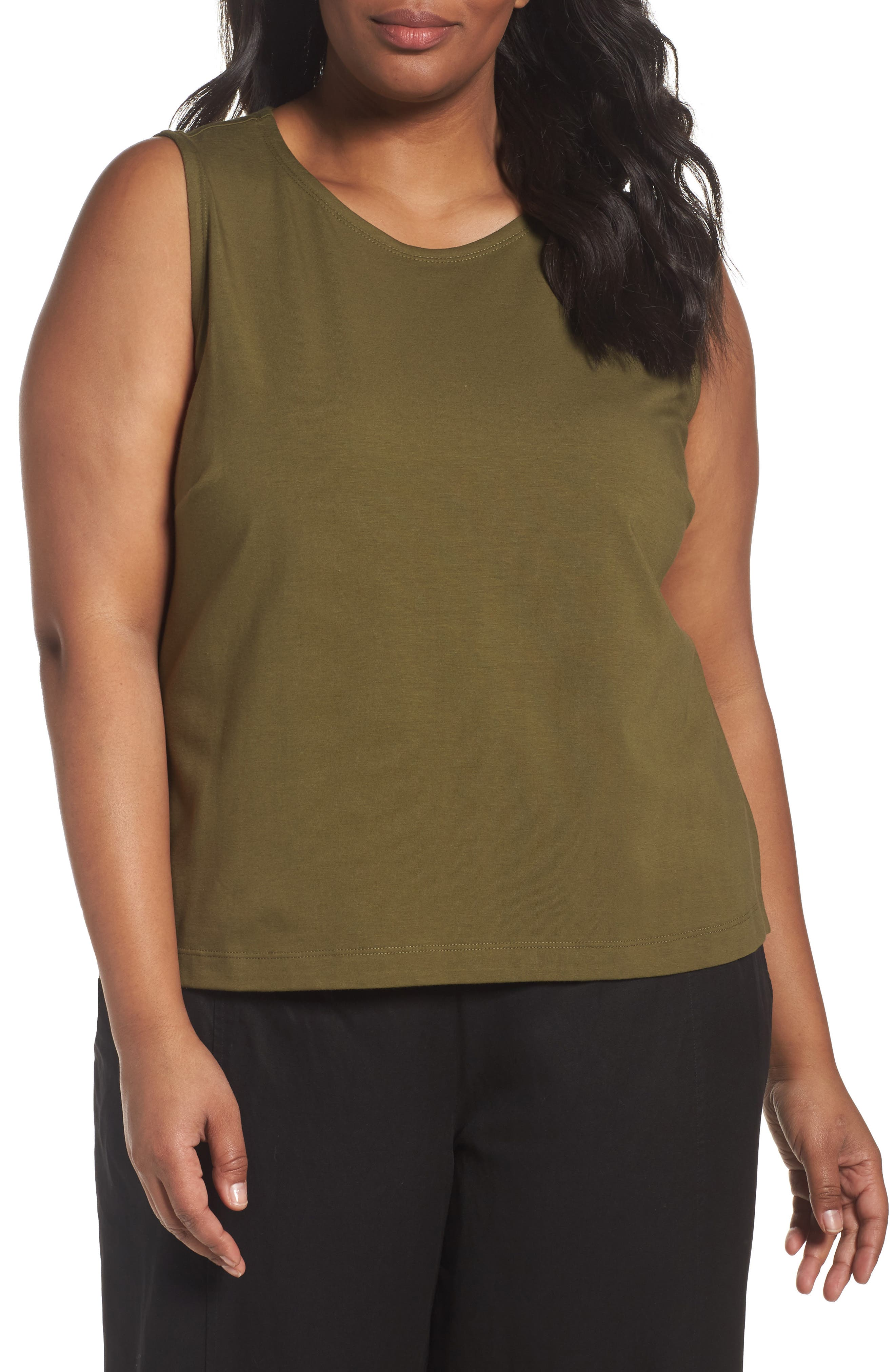 Eileen Fisher Organic Cotton Jersey Shell (Plus Size)