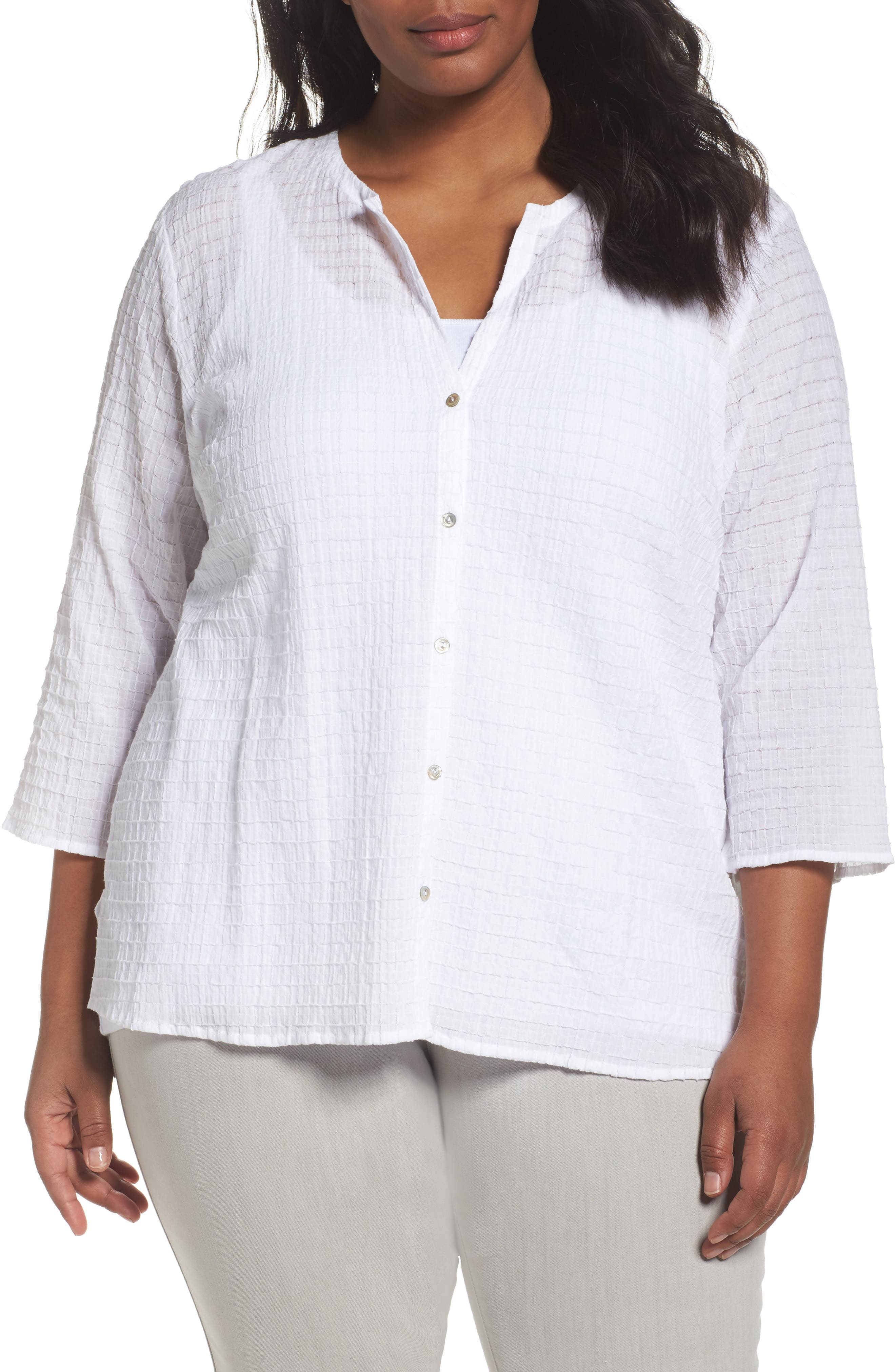 Eileen Fisher Organic Cotton Voile Shirt (Plus Size)