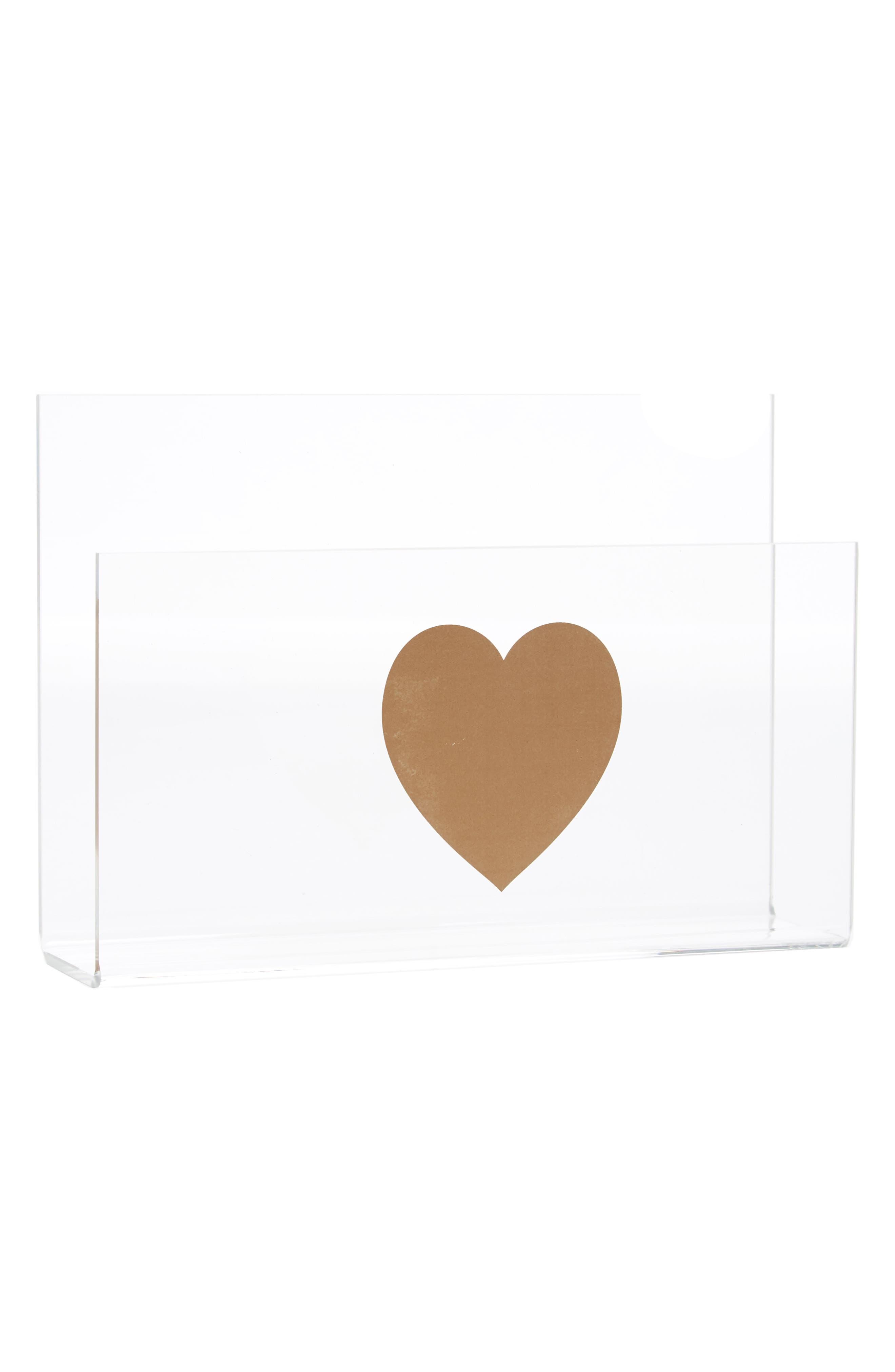 The Pink Orange Heart Acrylic Letter Holder