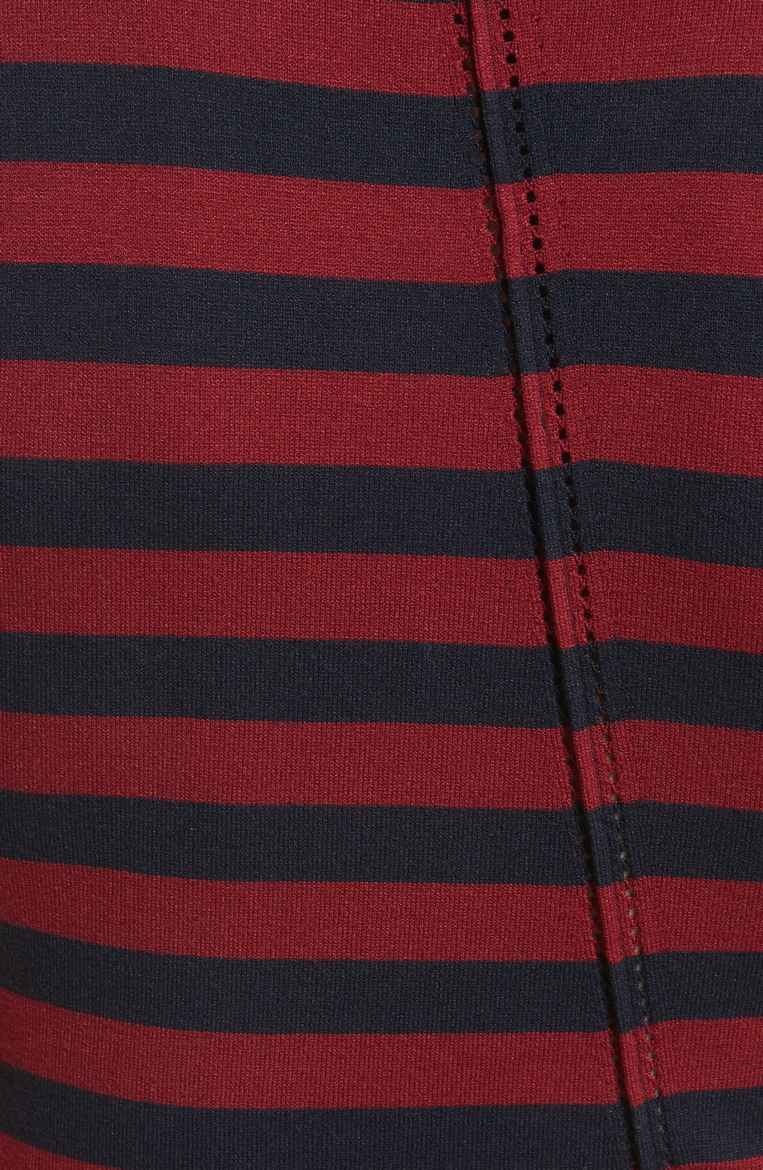 Stripe Handkerchief Hem Dress,                             Alternate thumbnail 5, color,                             Midnight/ Rosewood
