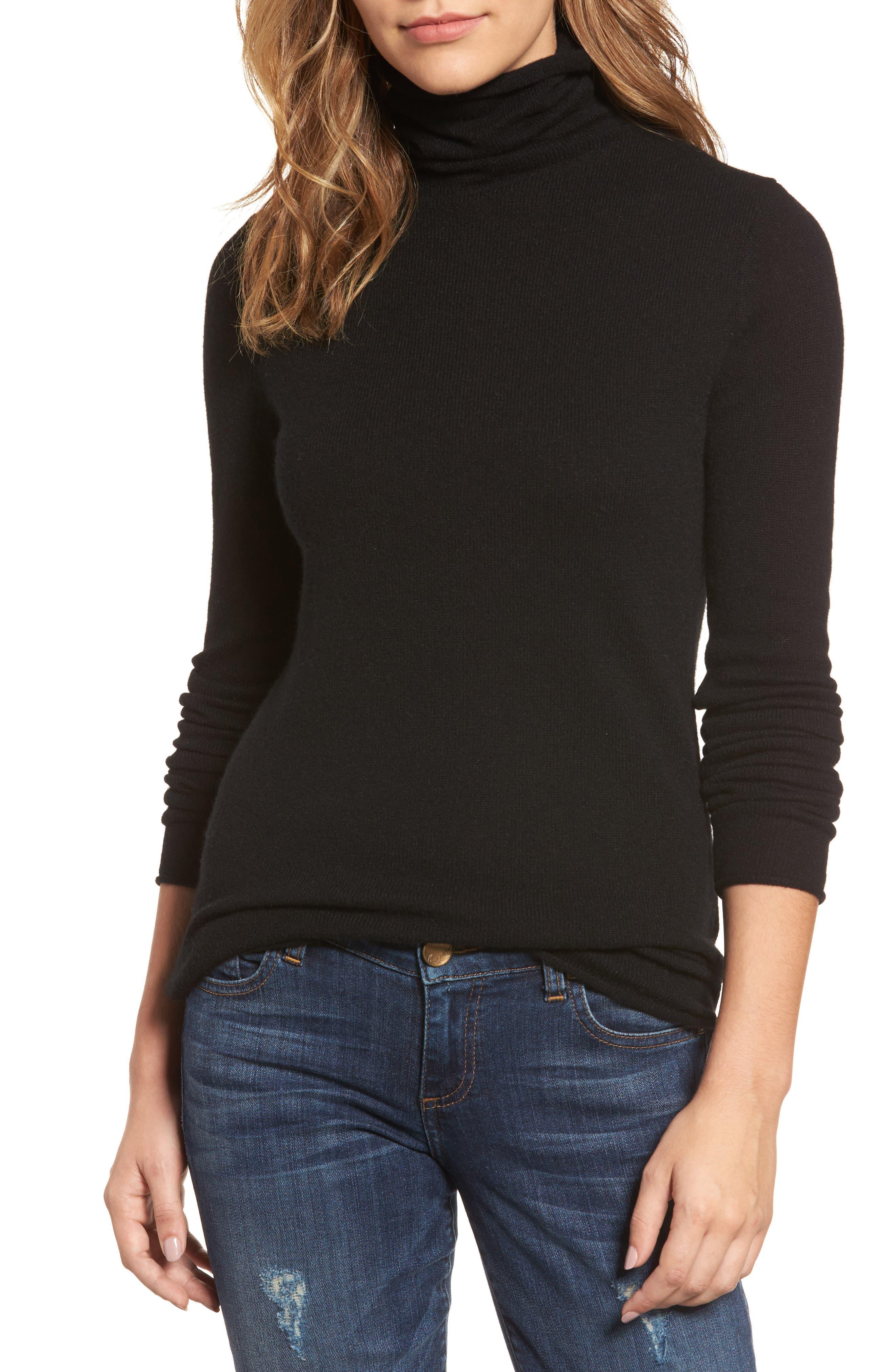 Halogen® Funnel Neck Cashmere Sweater (Regular & Petite)