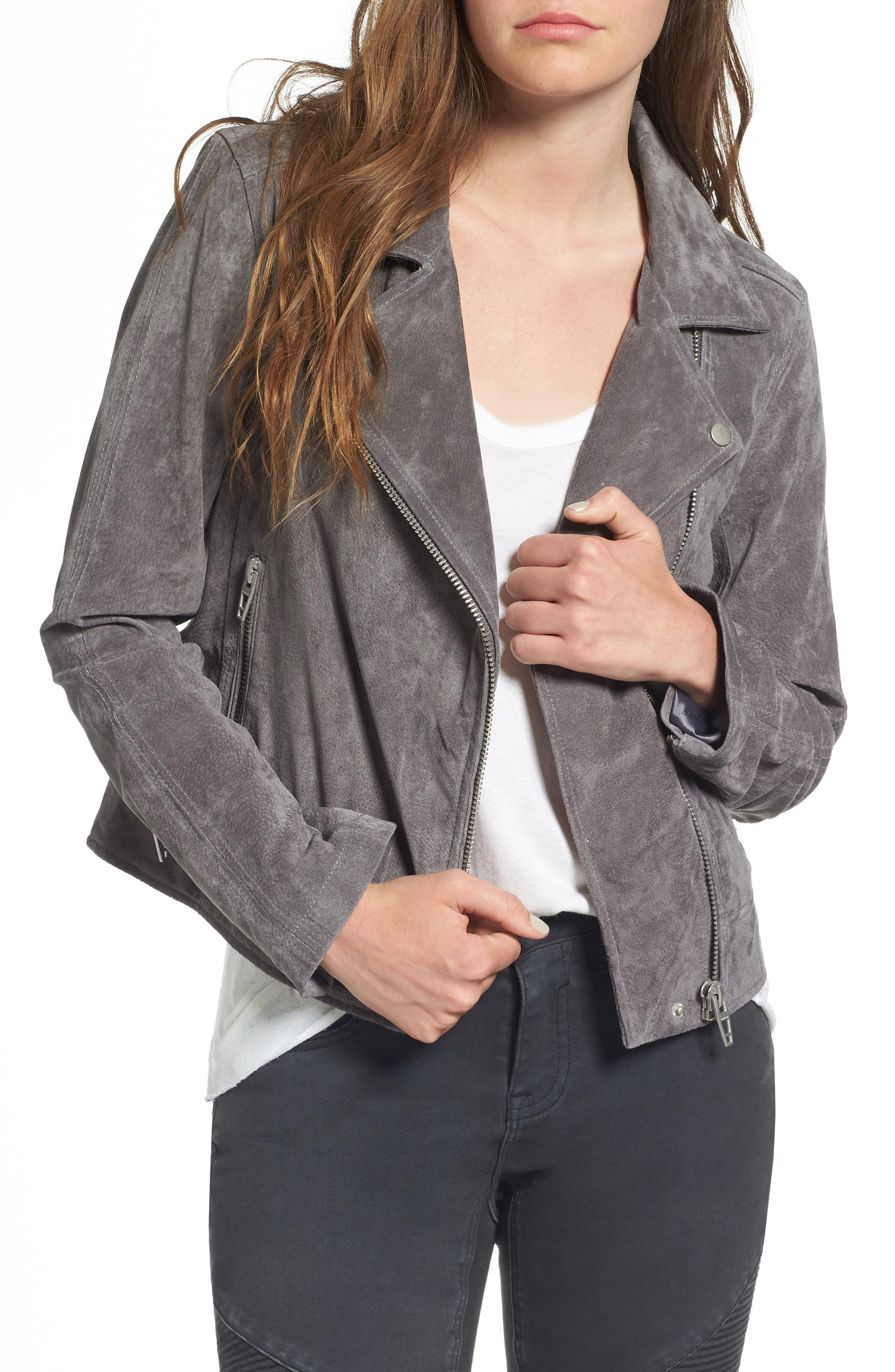 Suede Moto Jacket,                         Main,                         color, Silver Screen
