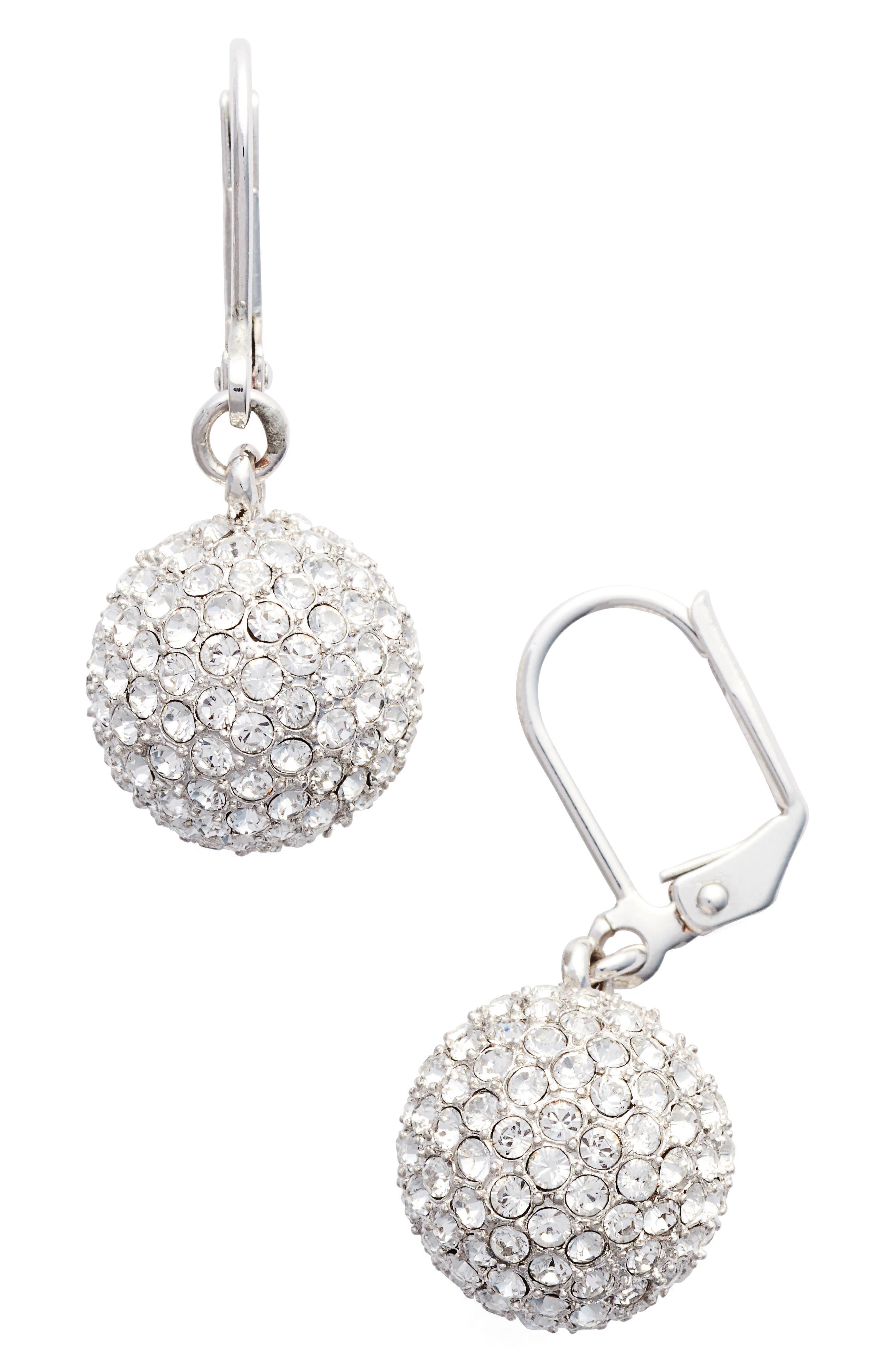 Pavé Ball Drop Earrings,                             Main thumbnail 1, color,                             Silver