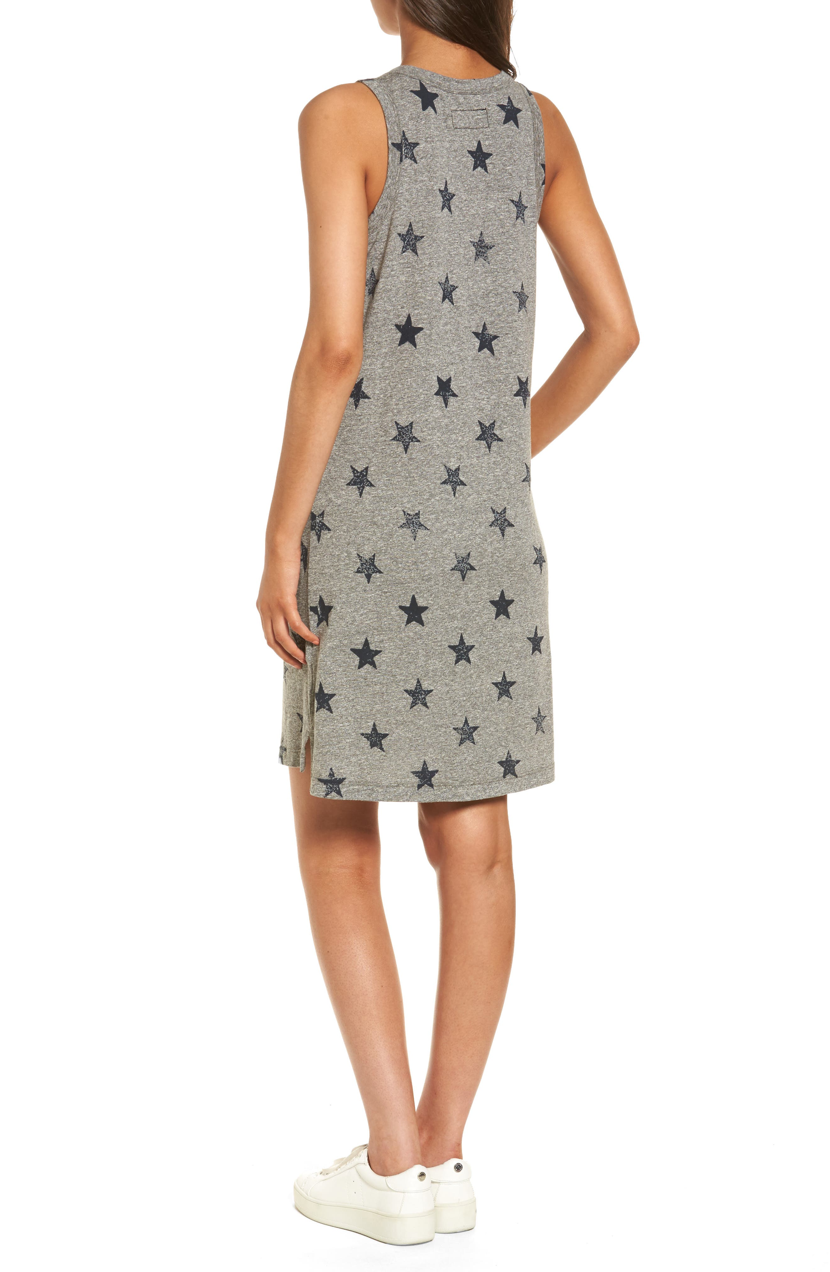 The Muscle Tee Dress,                             Alternate thumbnail 2, color,                             Heather Grey W/ Big Navy Stars