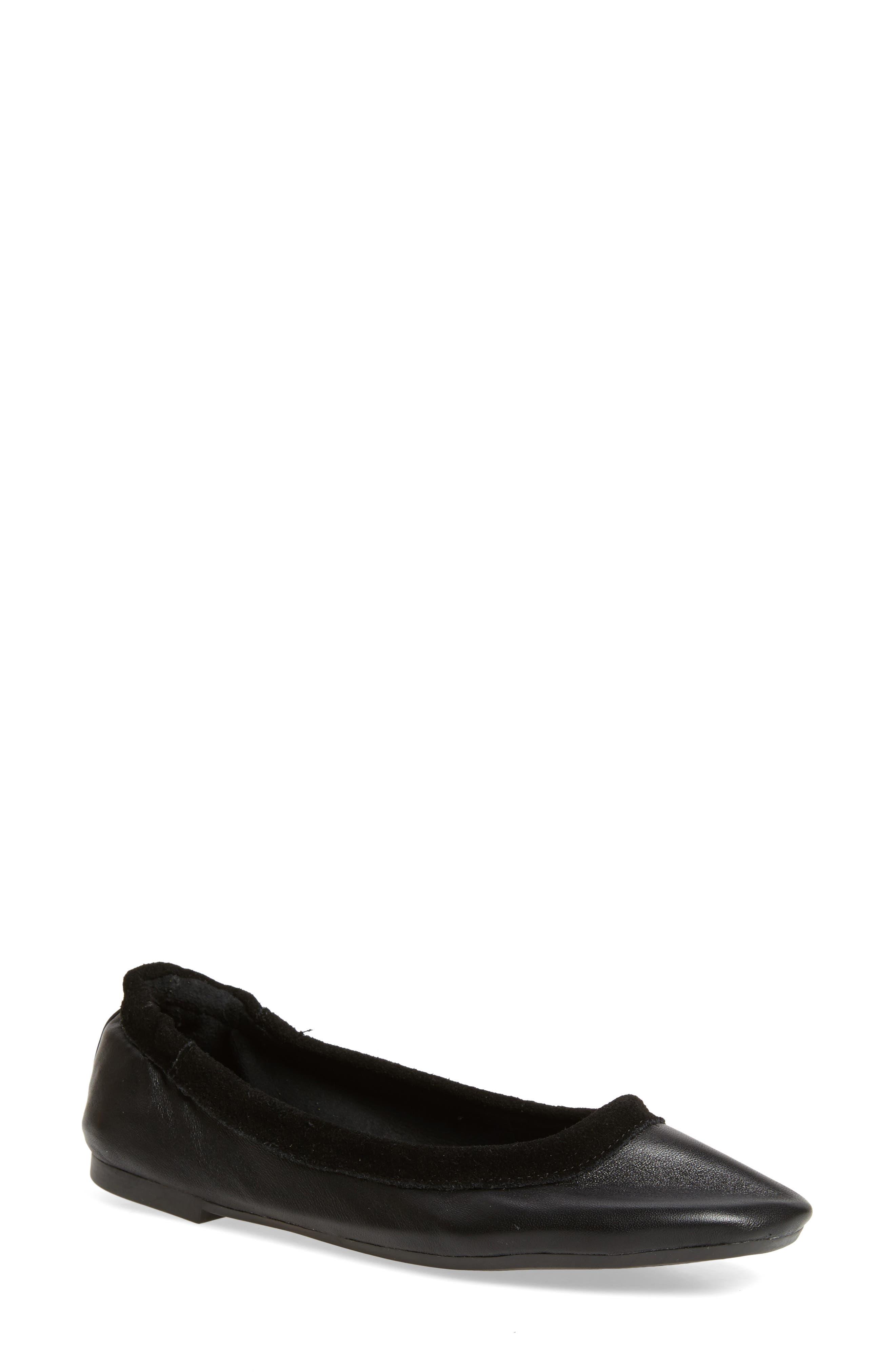 M4D3 Cozy Ballet Flat,                             Main thumbnail 1, color,                             Black Leather