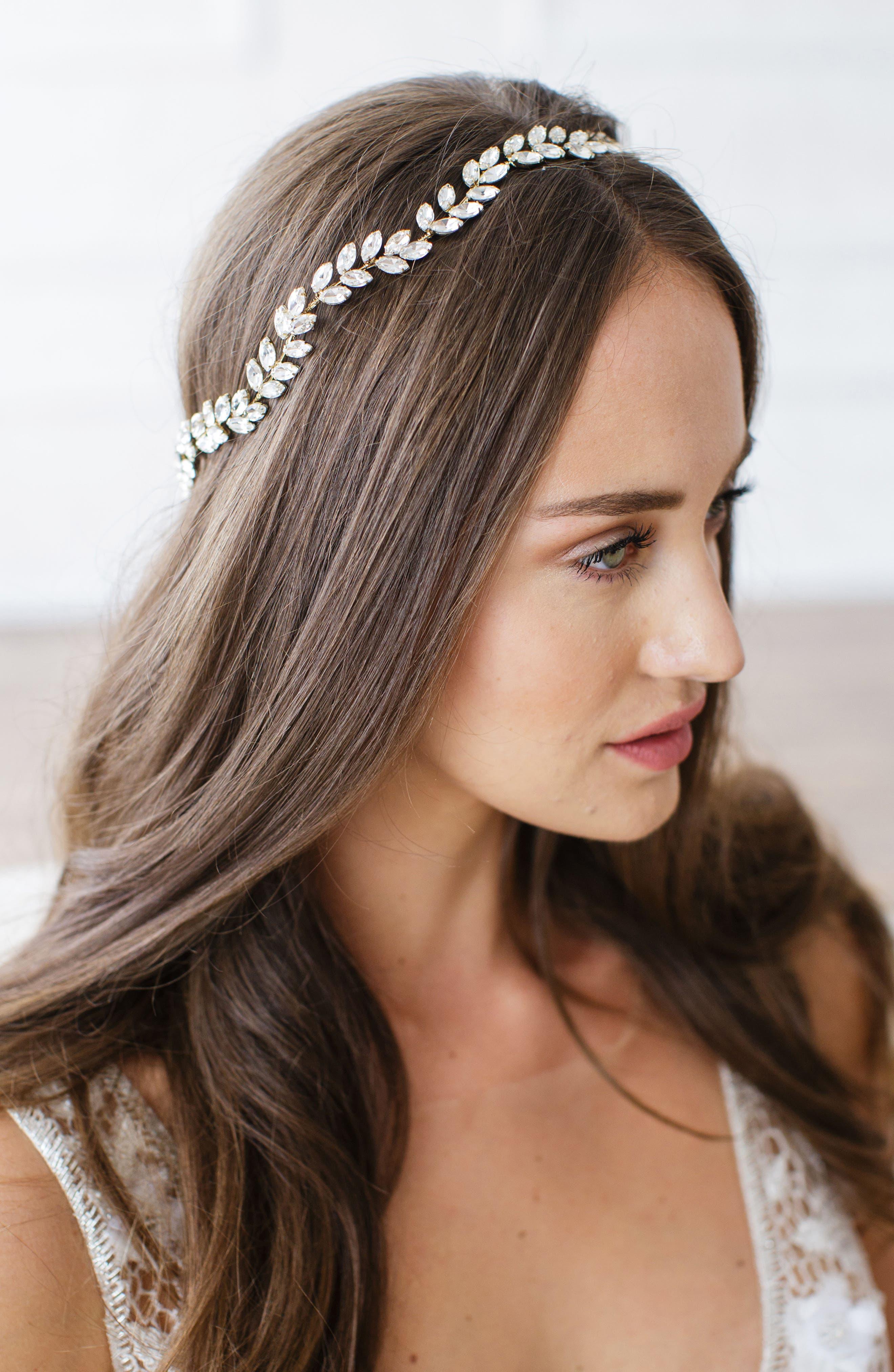 Alternate Image 1 Selected - Brides & Hairpins Alegra Crystal Leaf Halo & Sash