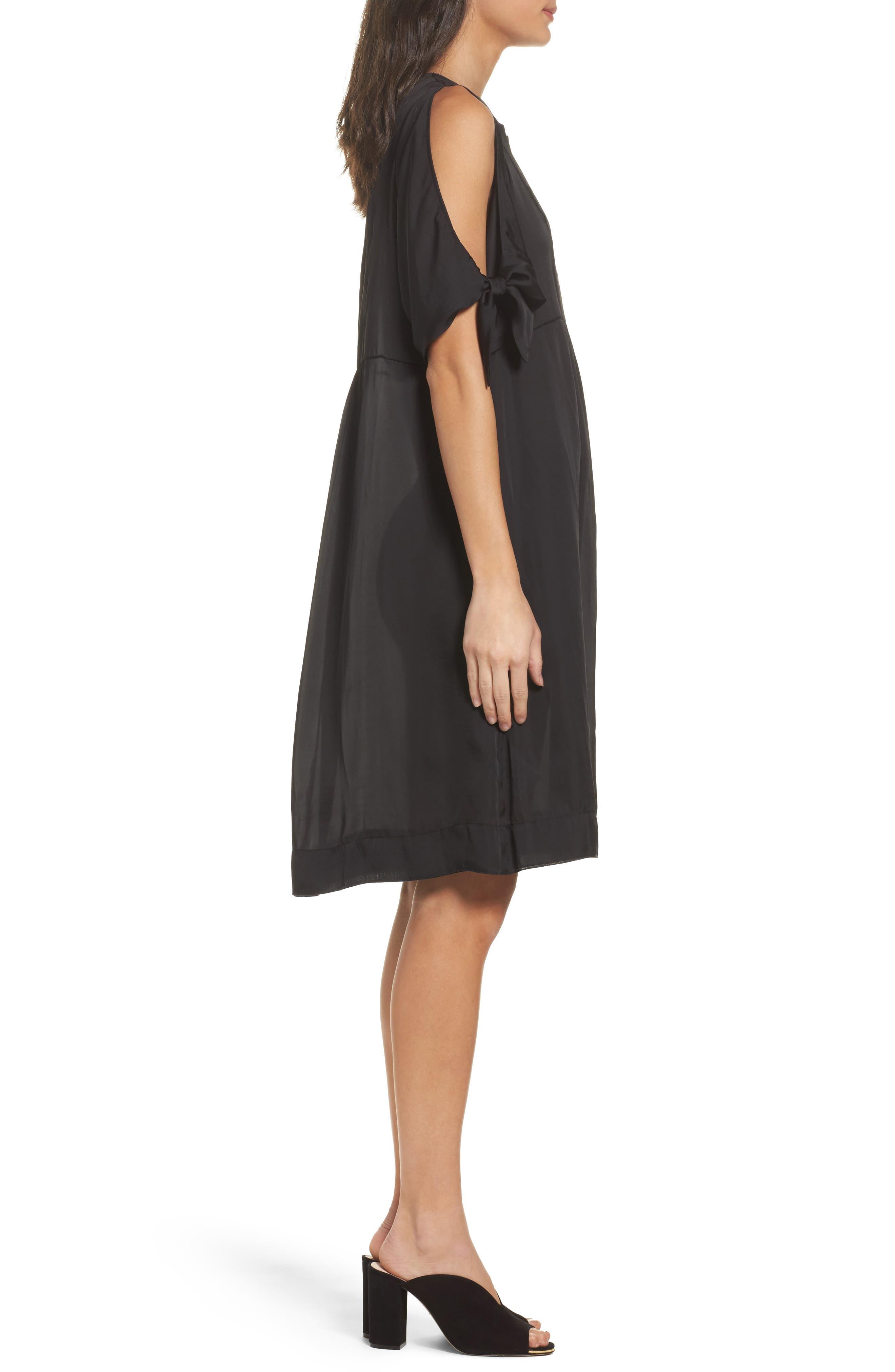 Split Sleeve Dress,                             Alternate thumbnail 3, color,                             Black