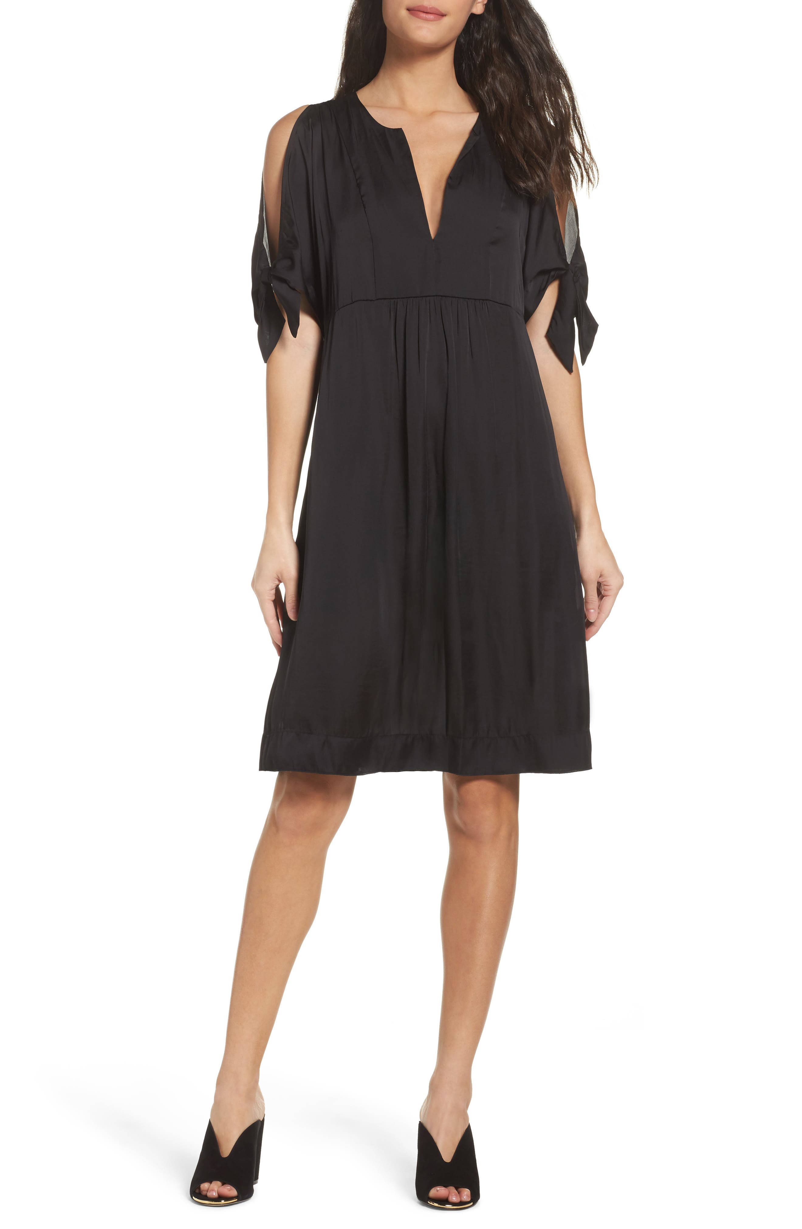 Split Sleeve Dress,                         Main,                         color, Black