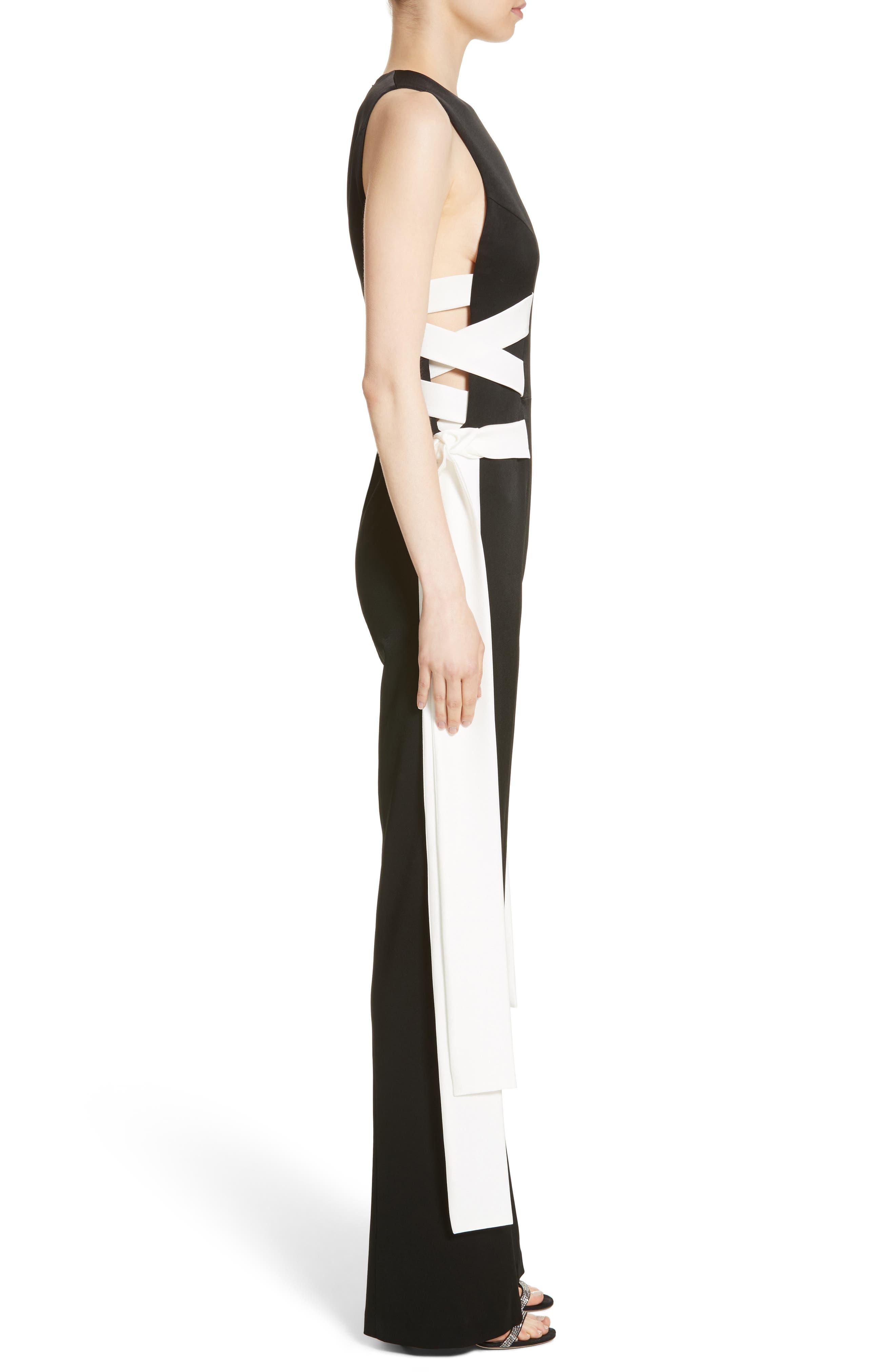 Lace Up Satin Crepe Jumpsuit,                             Alternate thumbnail 4, color,                             Black W/ White Lacings