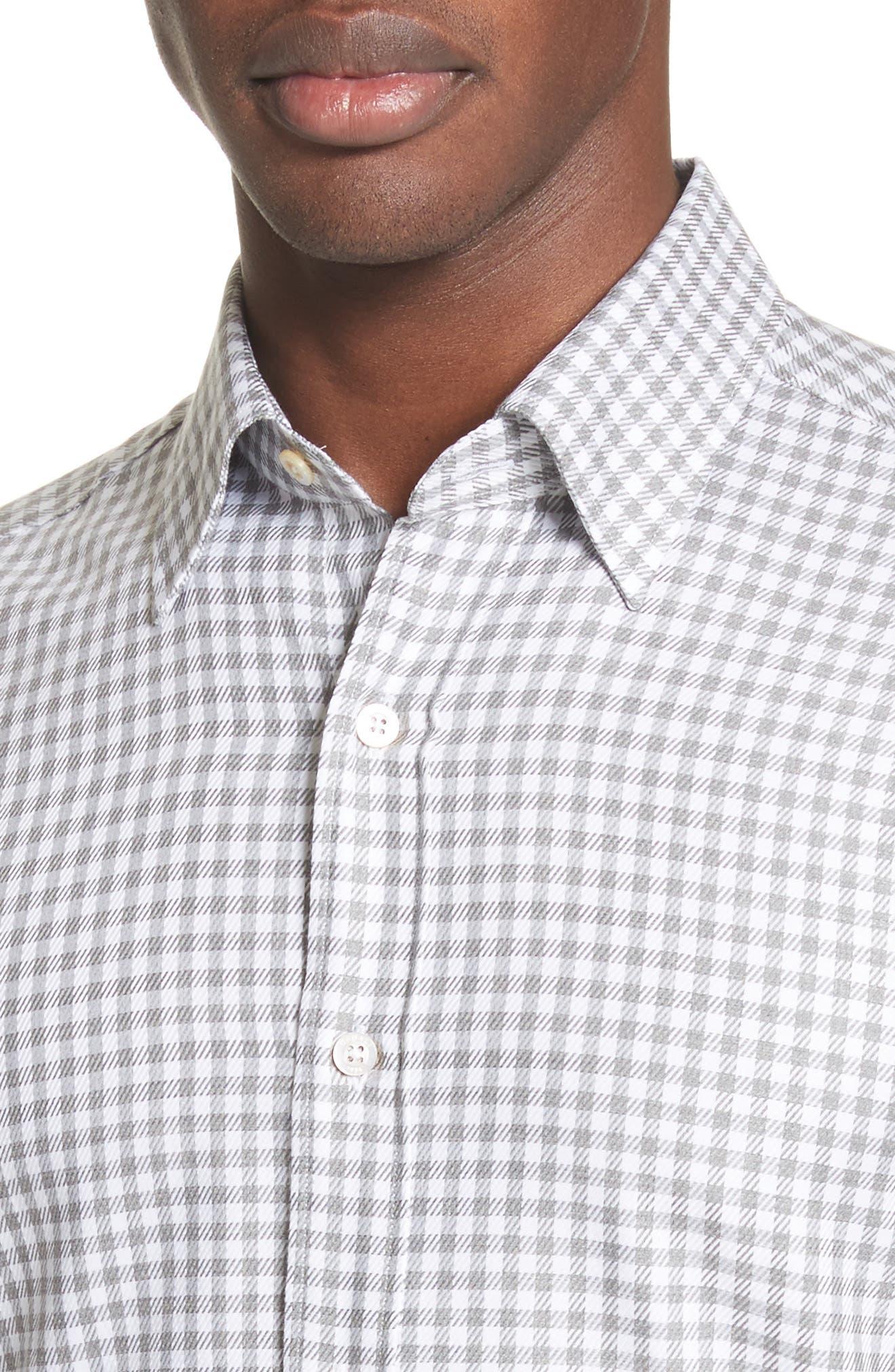 Shepherds Check Sport Shirt,                             Alternate thumbnail 4, color,                             Light Grey