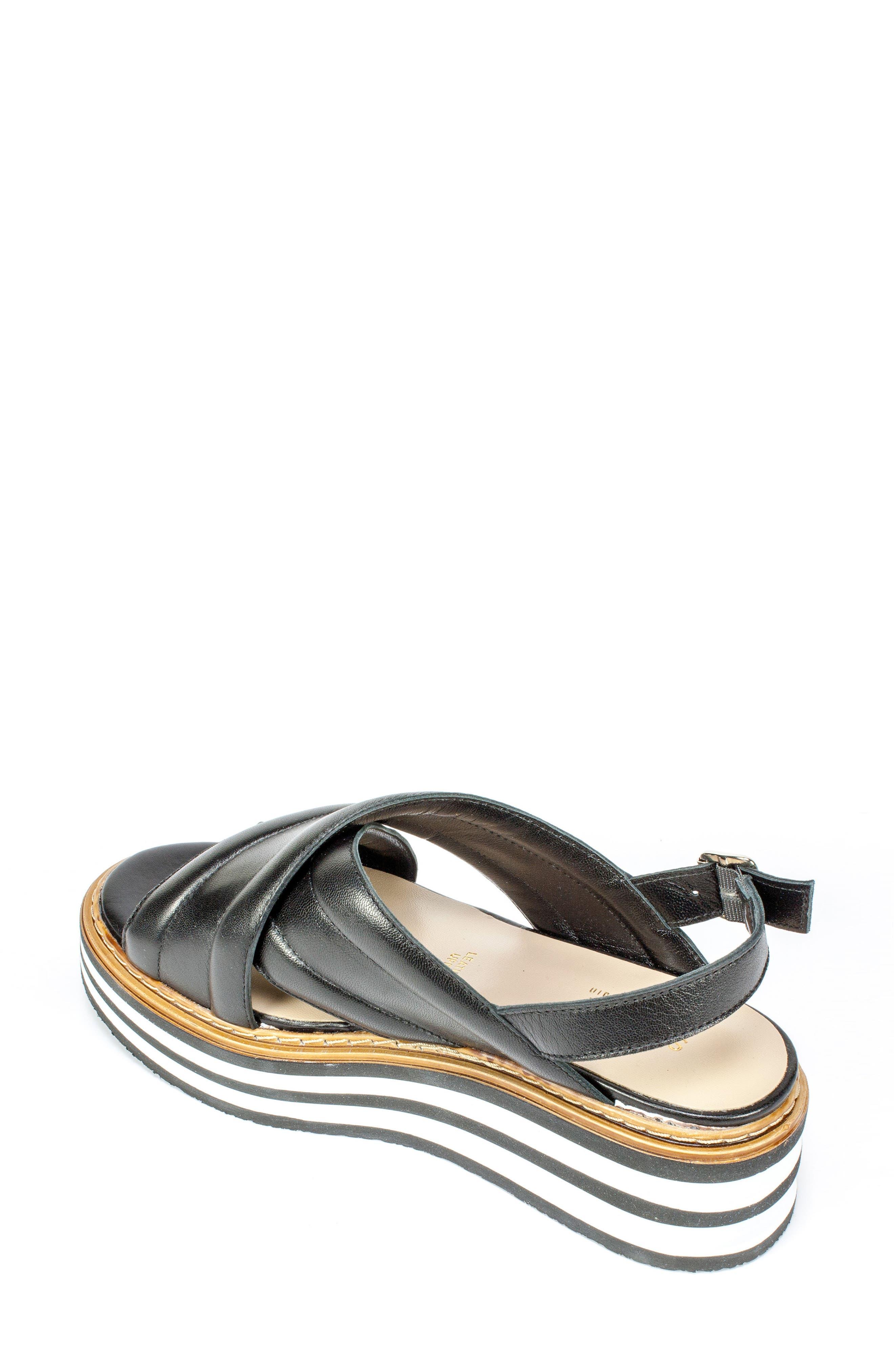 Leanna Platform Sandal,                             Alternate thumbnail 2, color,                             Black Leather
