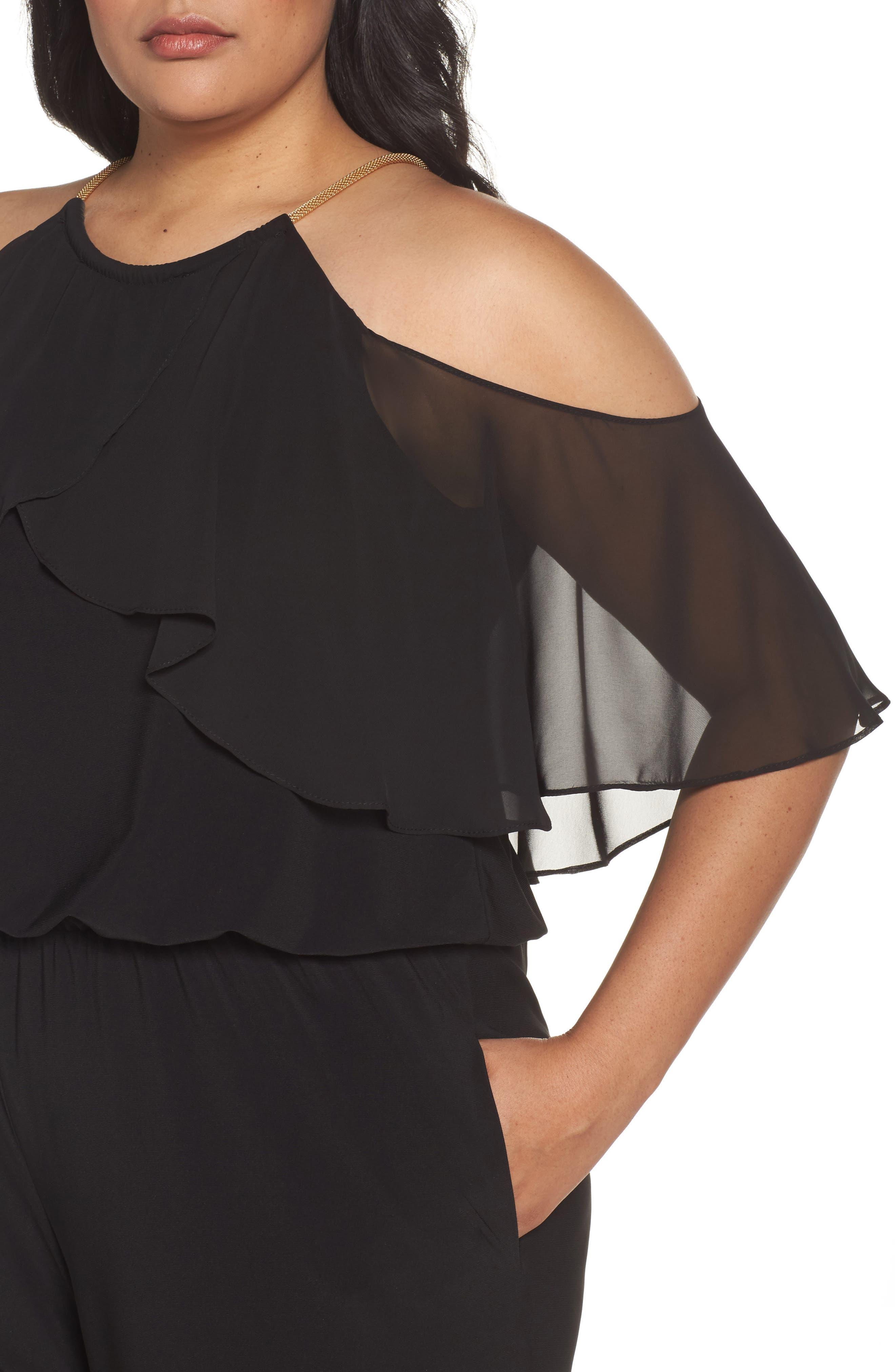 Chain Neck Cold Shoulder Jumpsuit,                             Alternate thumbnail 4, color,                             Black