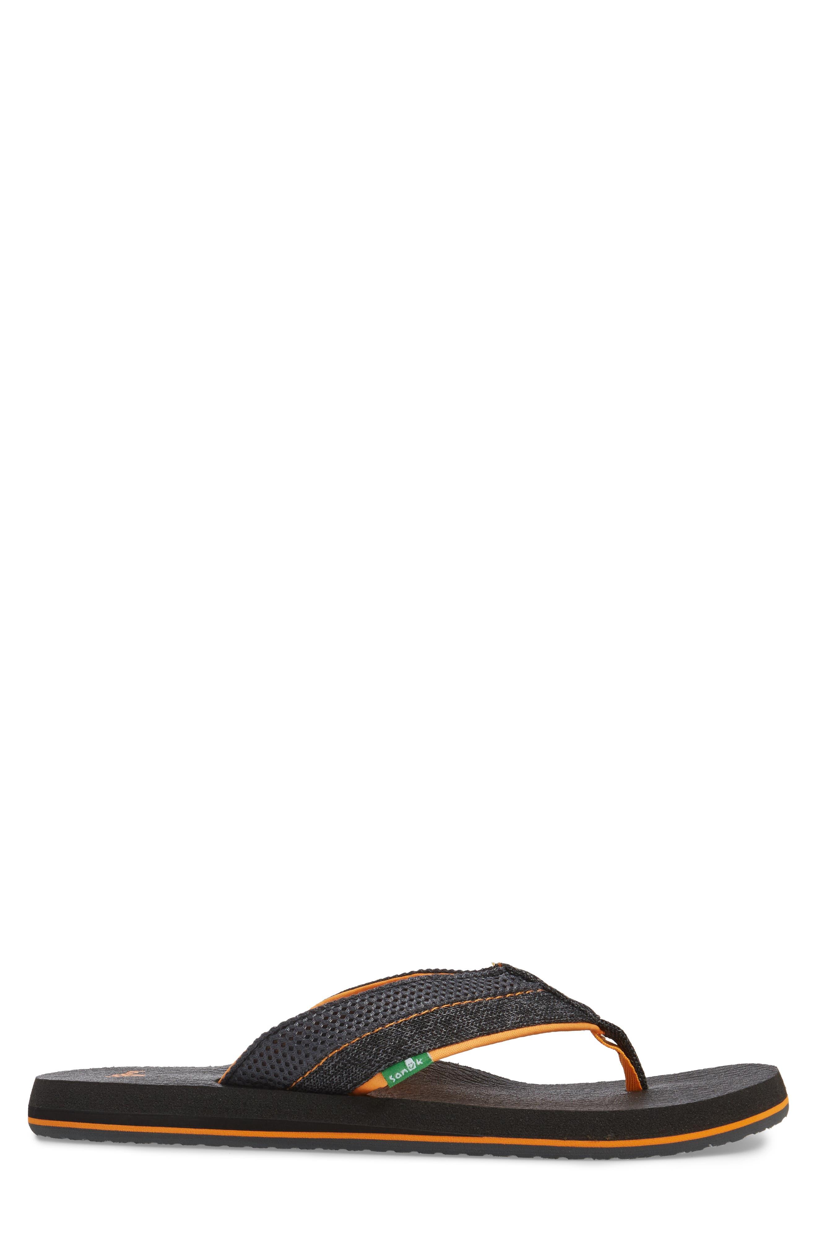 Beer Cozy Flip Flop,                             Alternate thumbnail 3, color,                             Black/ Charcoal/ Orange