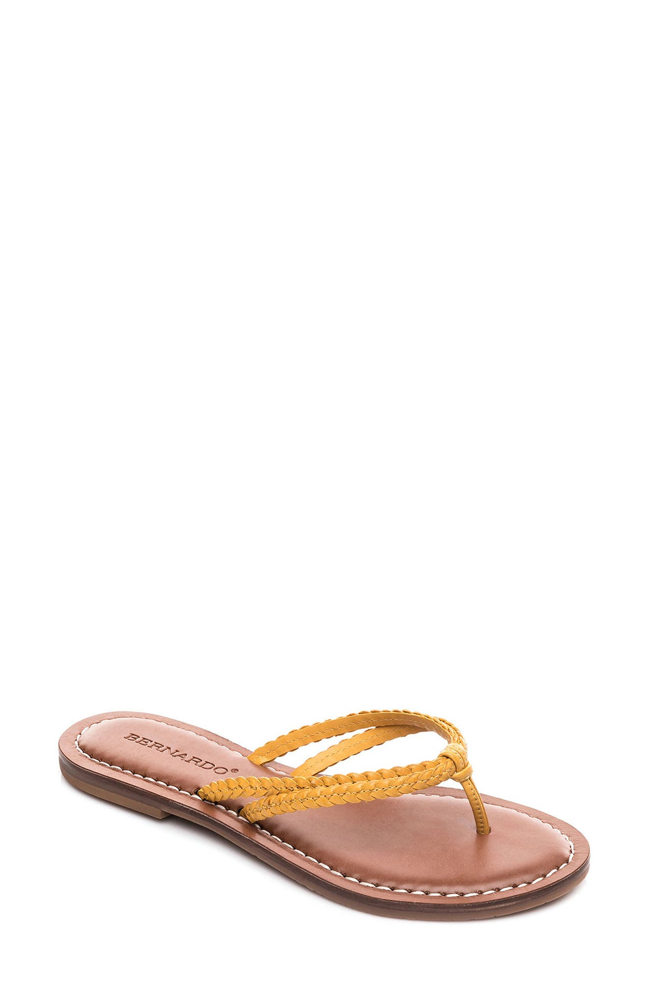 Bernardo Greta Braided Strap Sandal,                         Main,                         color, Golden Yellow Leather