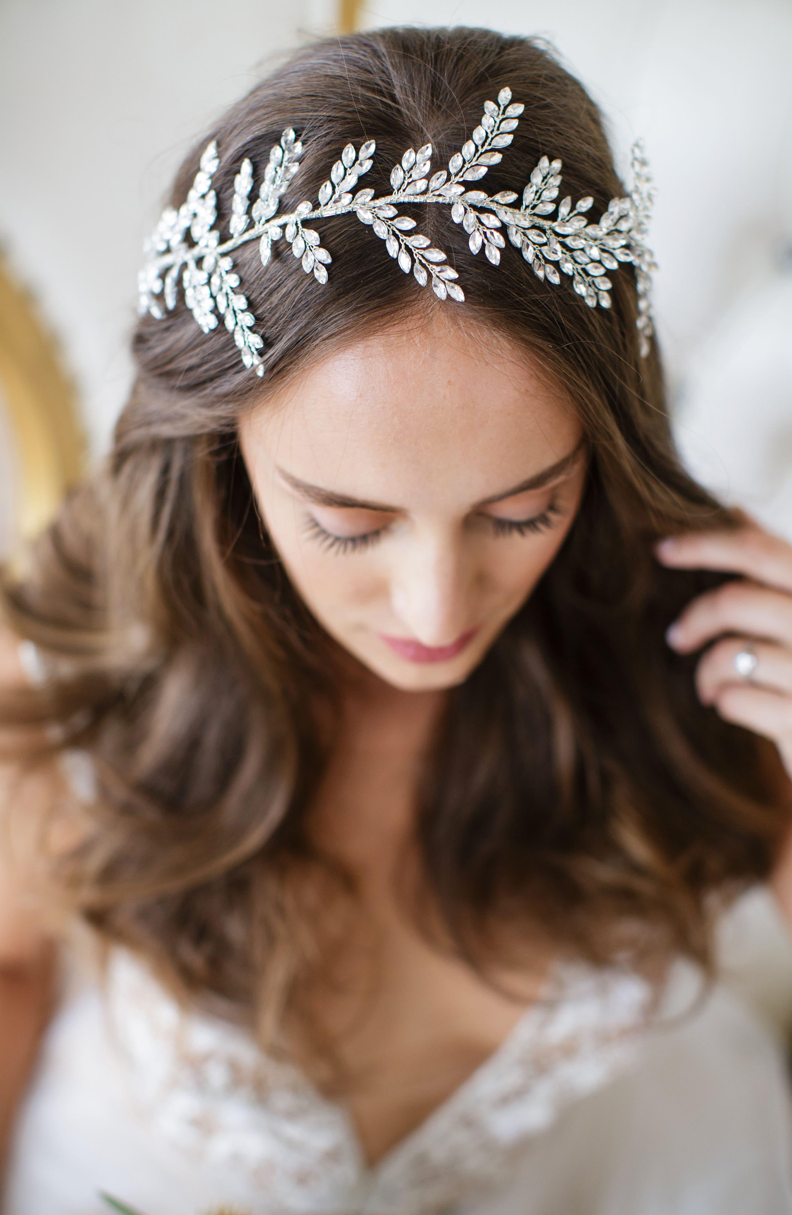 Alternate Image 2  - Brides & Hairpins Kira Crystal Halo & Sash