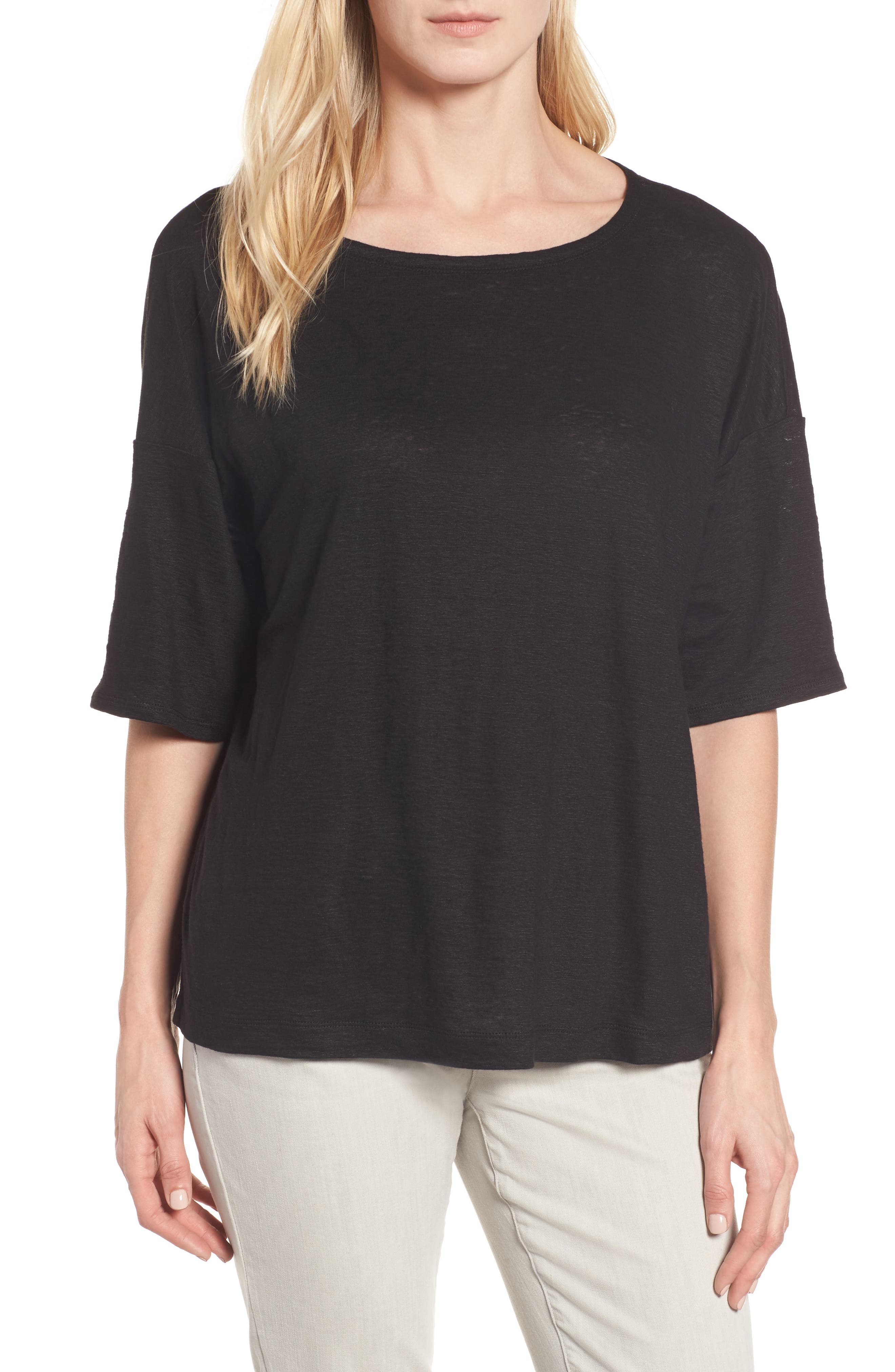 Alternate Image 1 Selected - Eileen Fisher Organic Linen Jersey Boxy Top