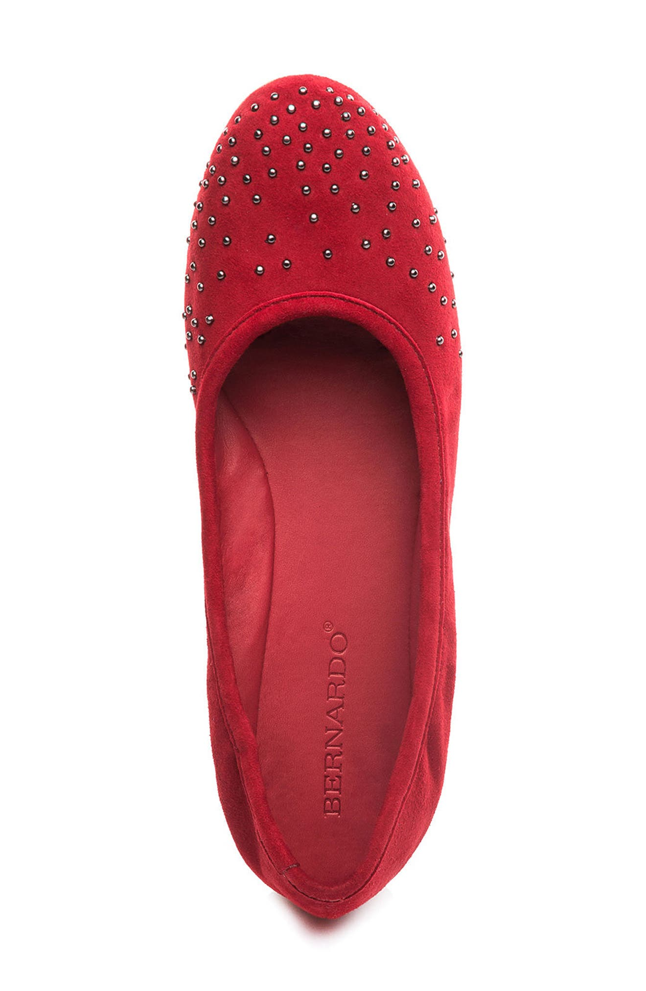 Dallas Studded Flat,                             Alternate thumbnail 5, color,                             Red Suede