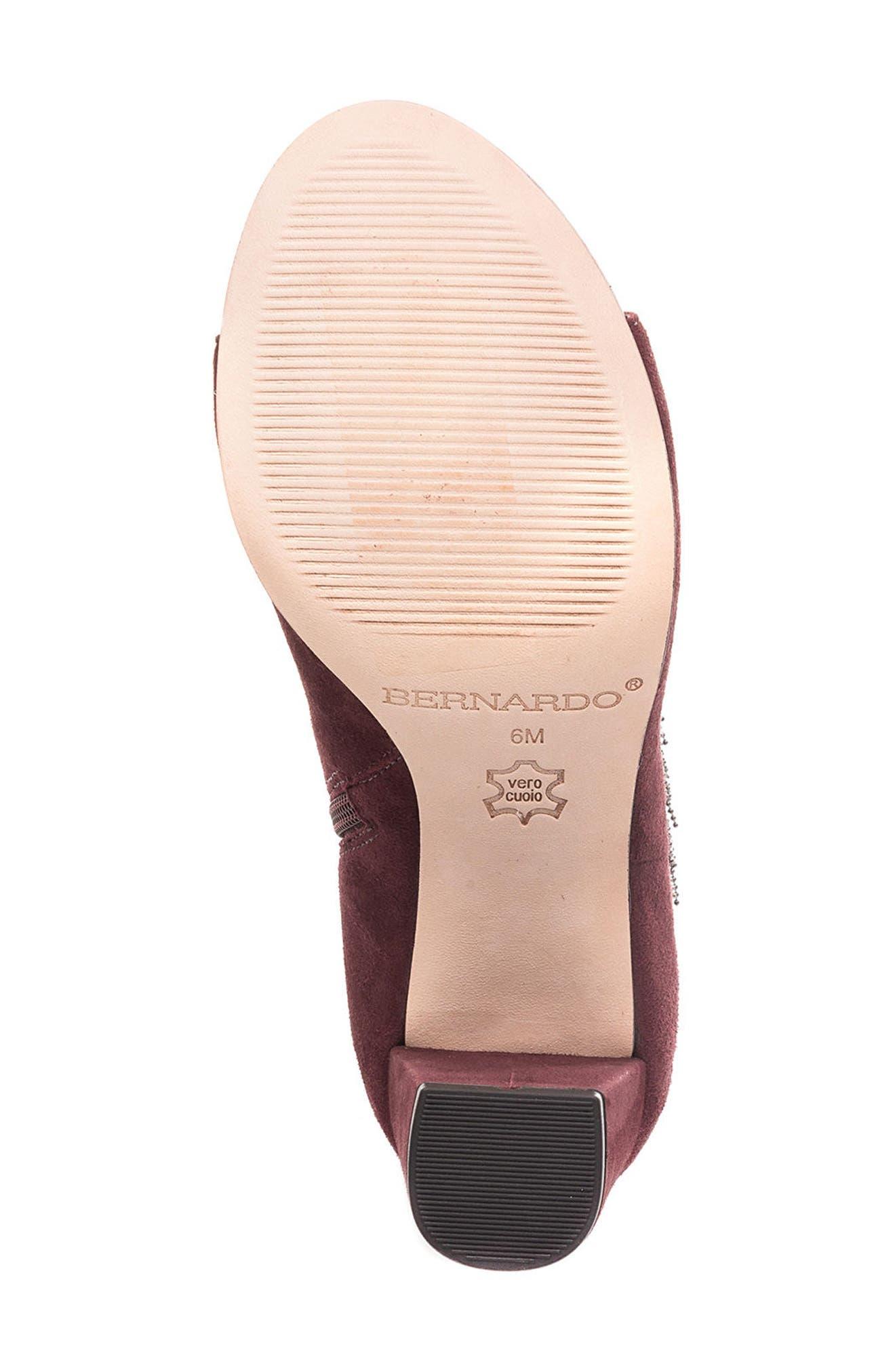 Honour Fringe Peep Toe Bootie,                             Alternate thumbnail 6, color,                             Bordeaux Leather