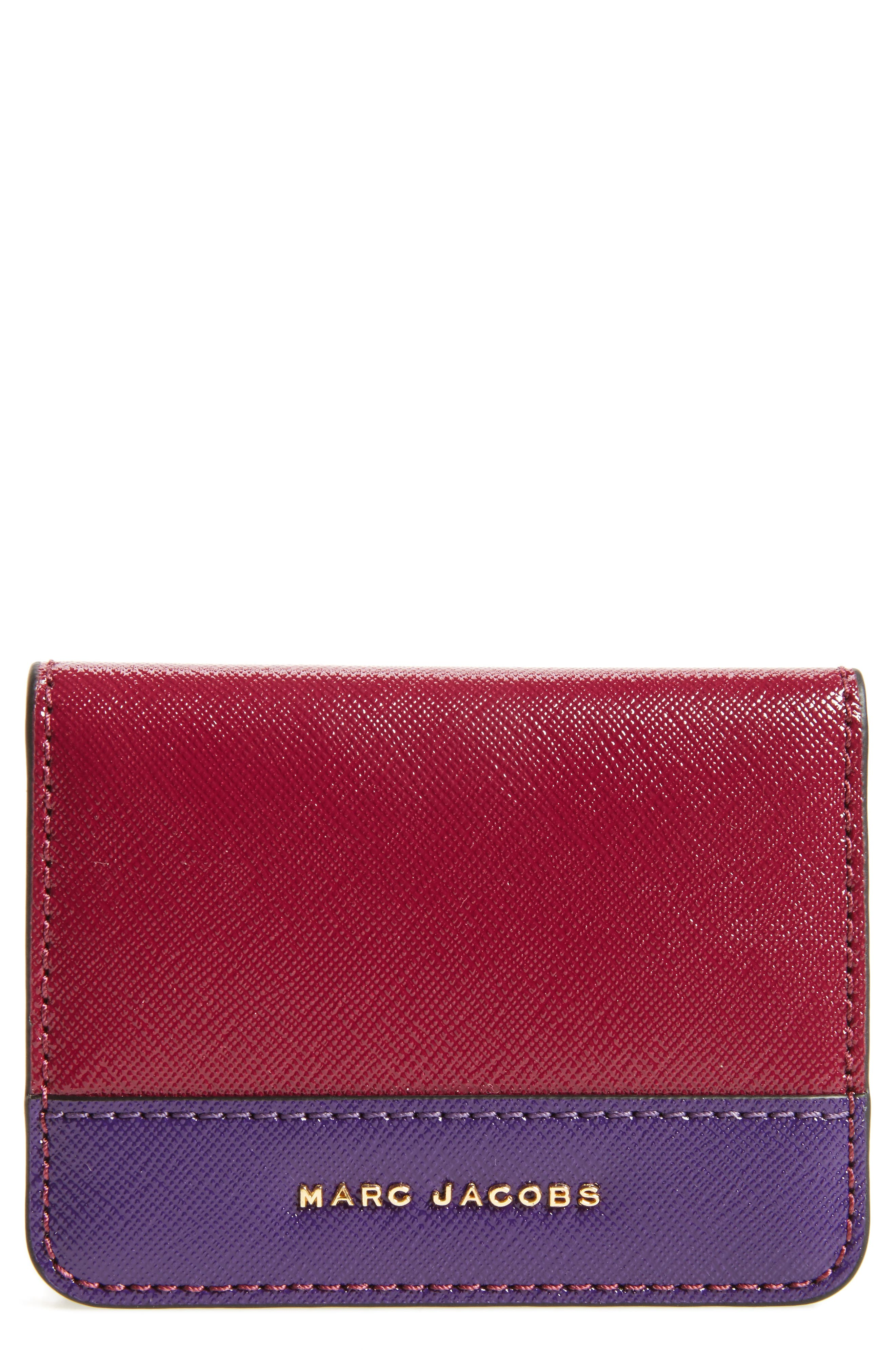 MARC JACOBS Color Block Saffiano Leather Business Card Case