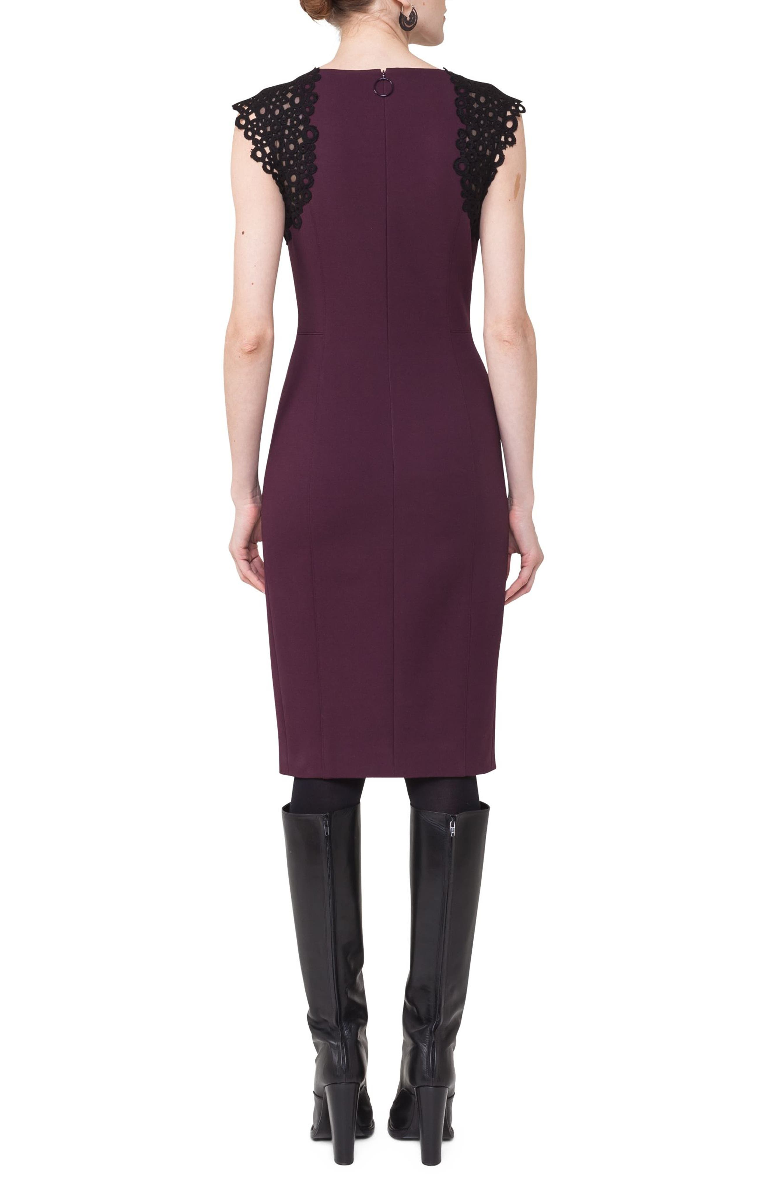 Lace Trim Sheath Dress,                             Alternate thumbnail 2, color,                             Wine