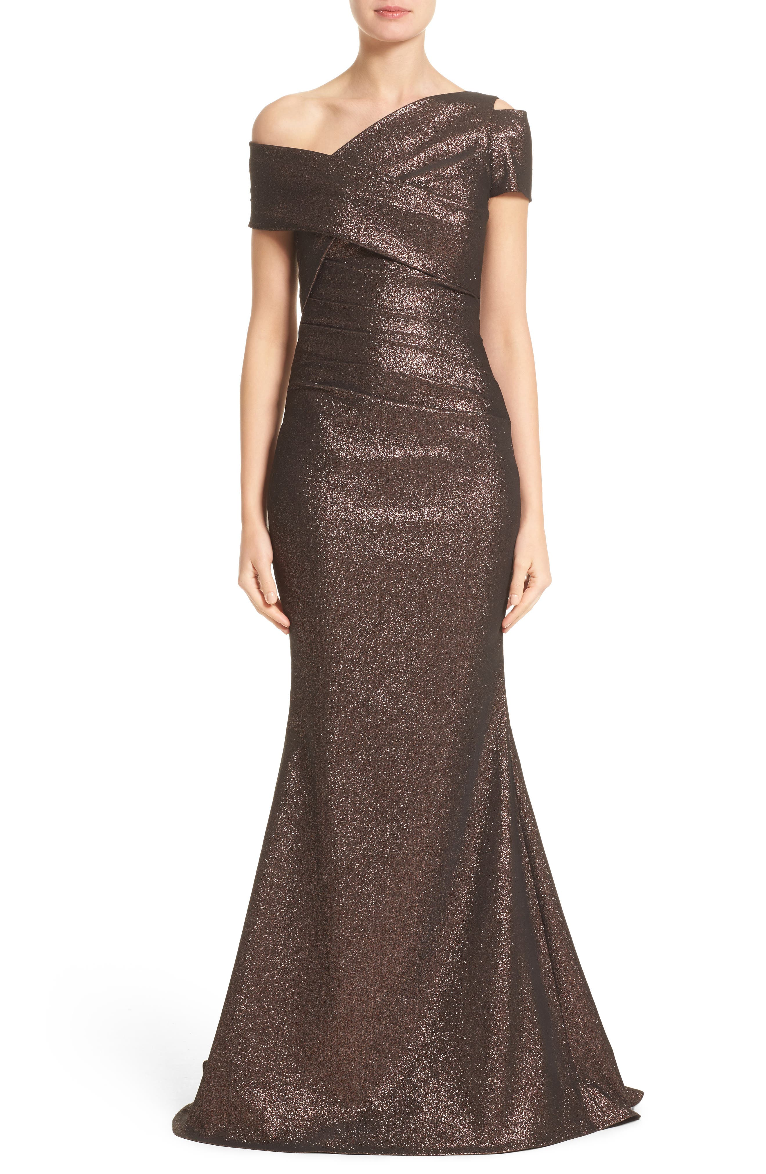Glitter Knit Asymmetrical Mermaid Gown,                         Main,                         color, Copper