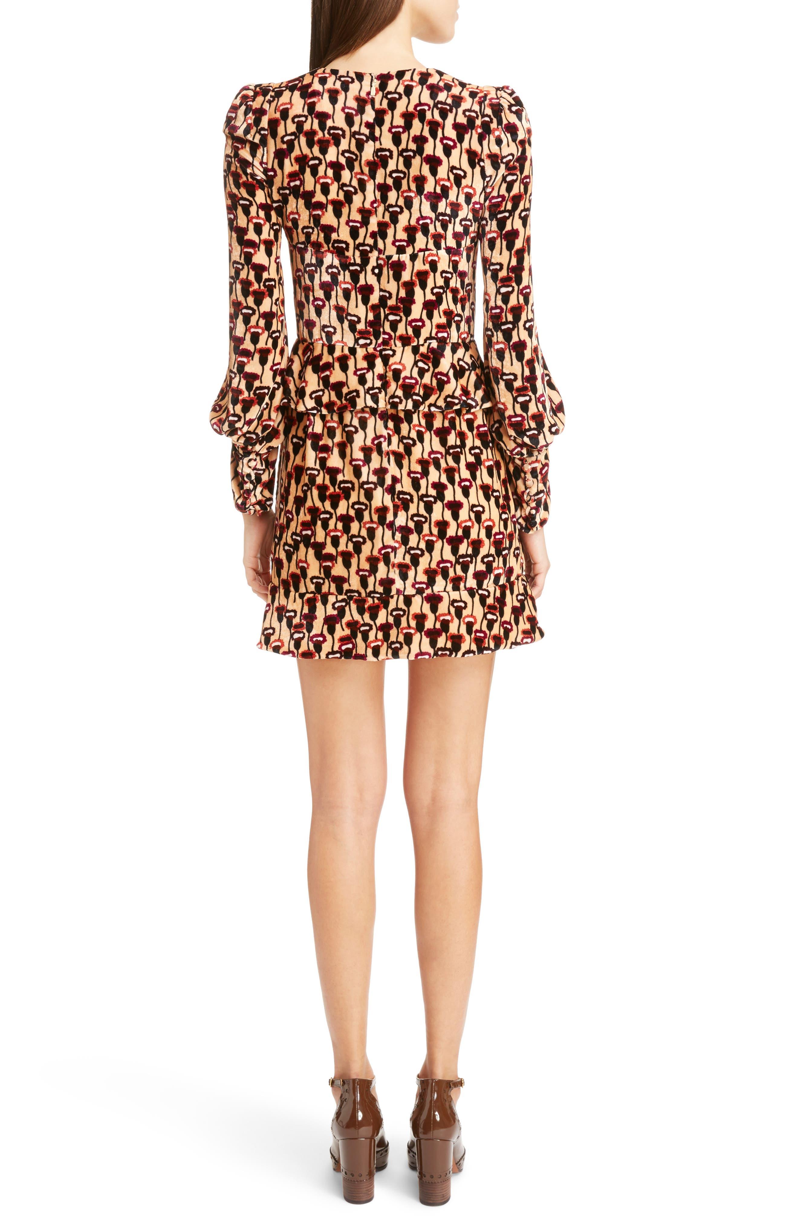 Poppy Print Velvet Peplum Dress,                             Alternate thumbnail 2, color,                             Multicolor
