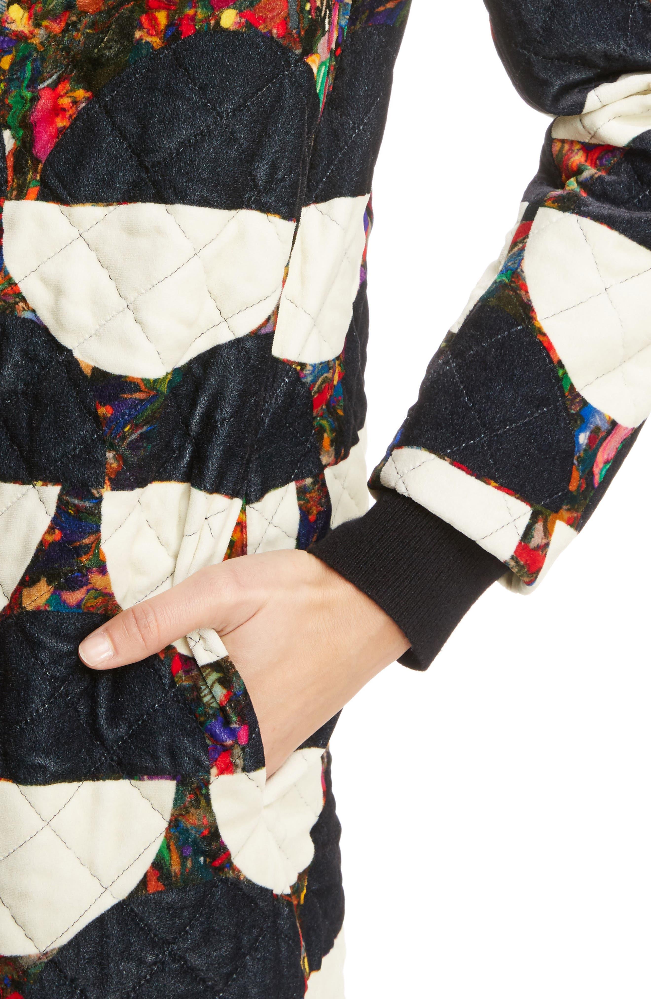 Mix Print Quilted Velvet Coat,                             Alternate thumbnail 5, color,                             Desb