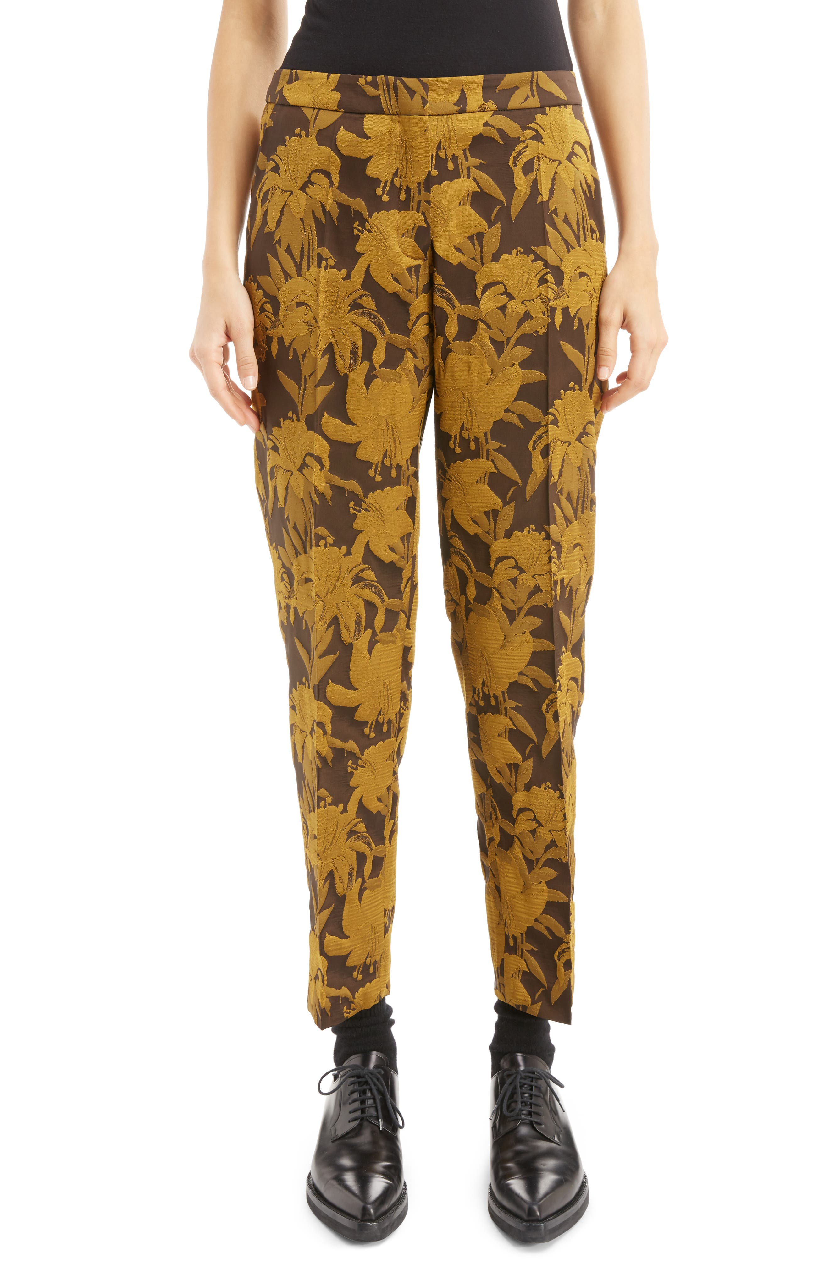 Damask Ankle Trousers,                         Main,                         color, Yellow