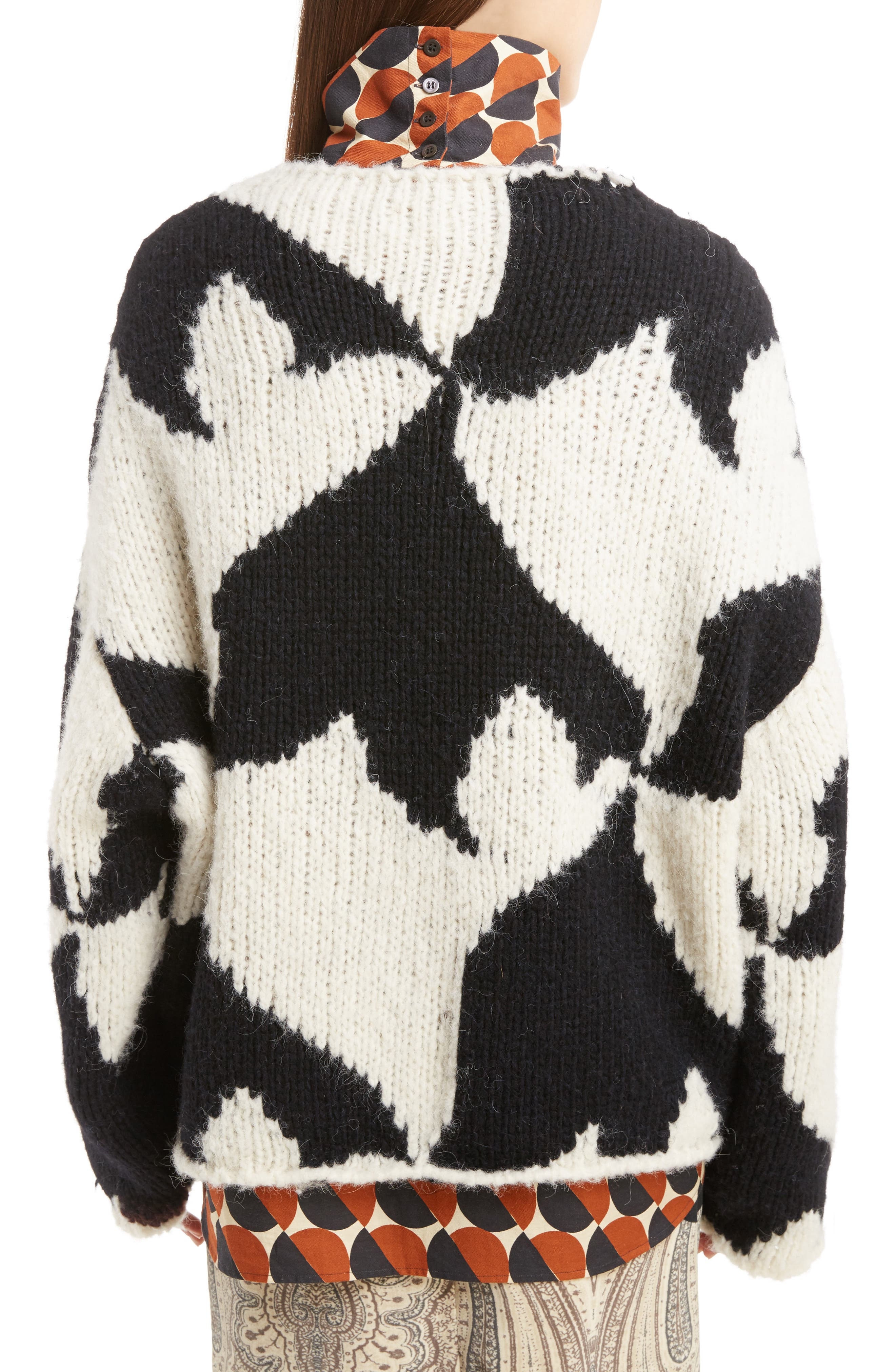 Geo Intarsia Wool Blend Sweater,                             Alternate thumbnail 2, color,                             Ecru