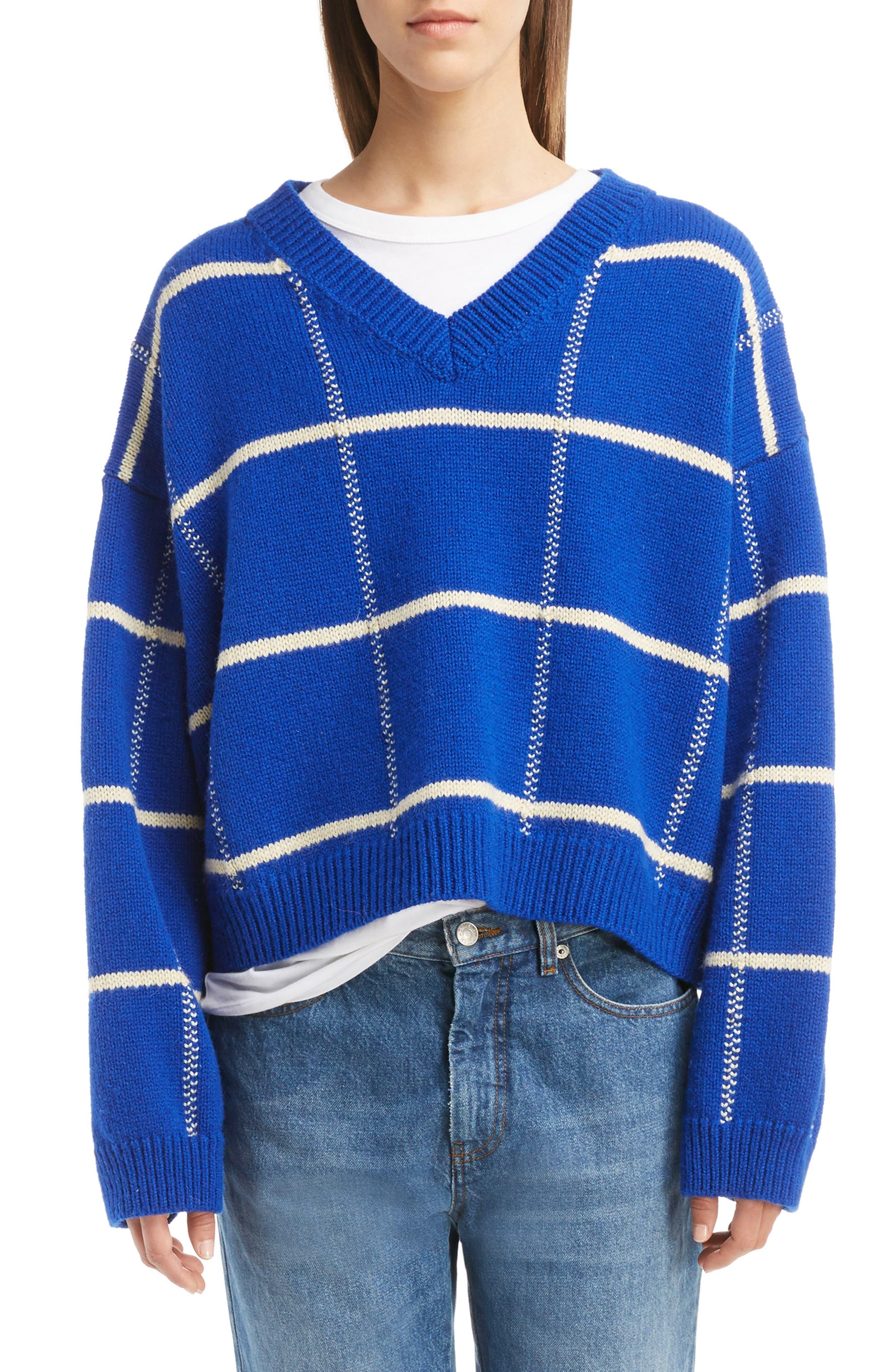 Windowpane Knit Wool Sweater,                         Main,                         color, King Blue