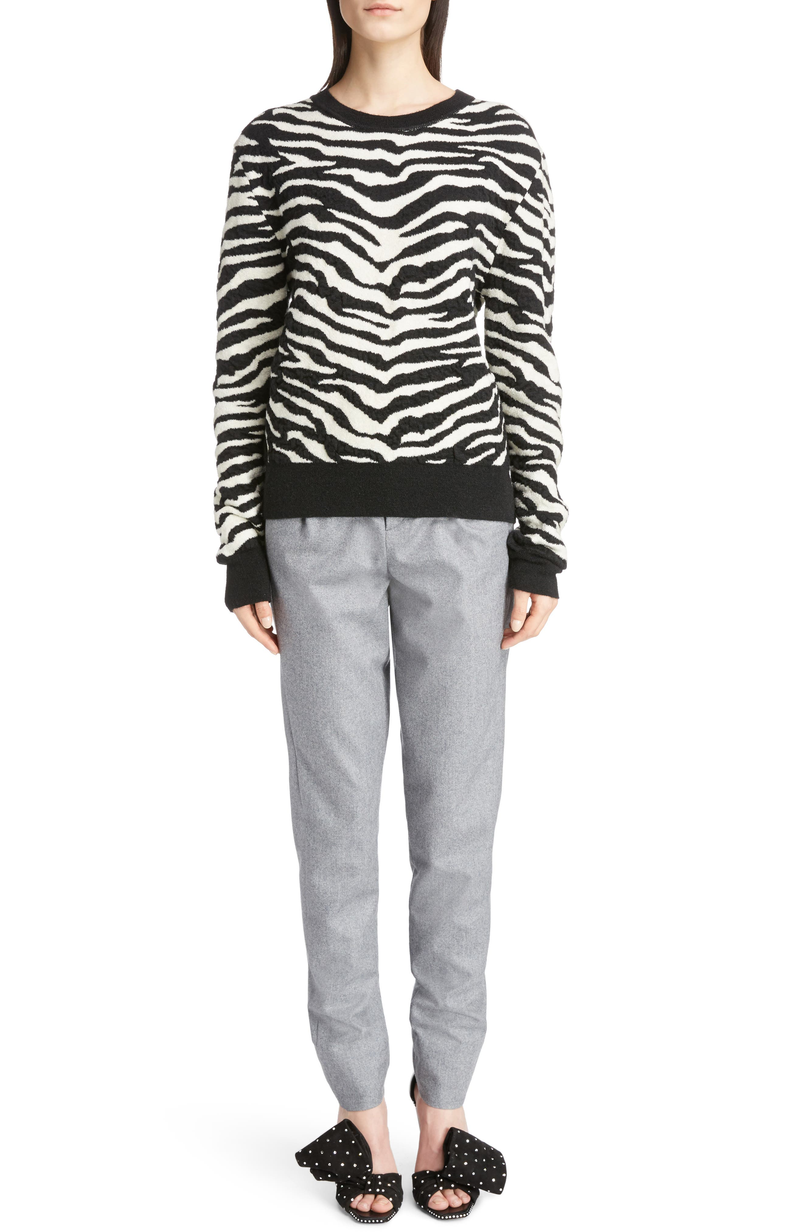 Tiger Knit Sweater,                         Main,                         color, Noir/ Naturel