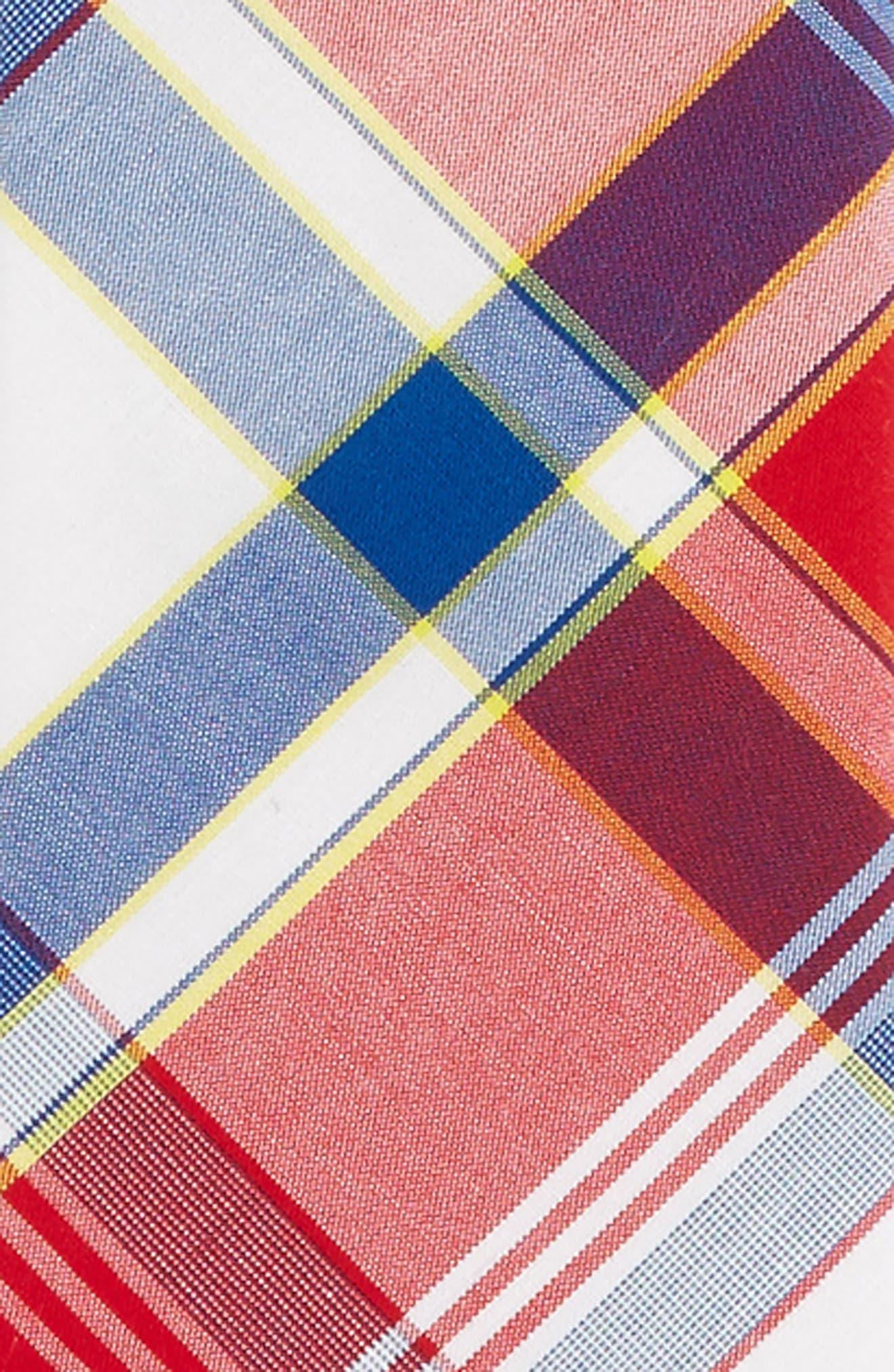 Plaid Cotton Zip Tie,                             Alternate thumbnail 2, color,                             Red- Navy Plaid