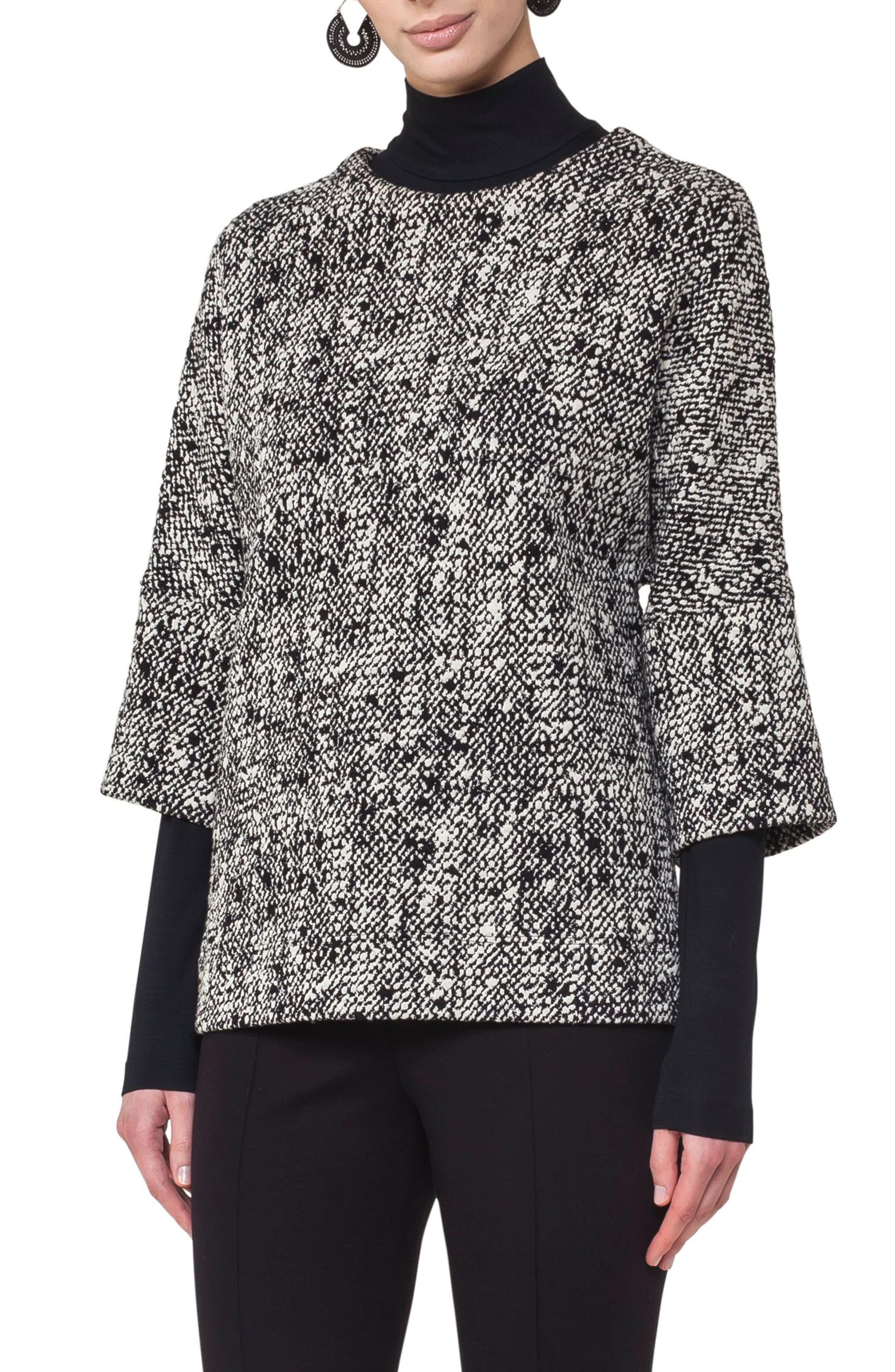 Cotton Blend Sweater,                             Main thumbnail 1, color,                             Black-Cream