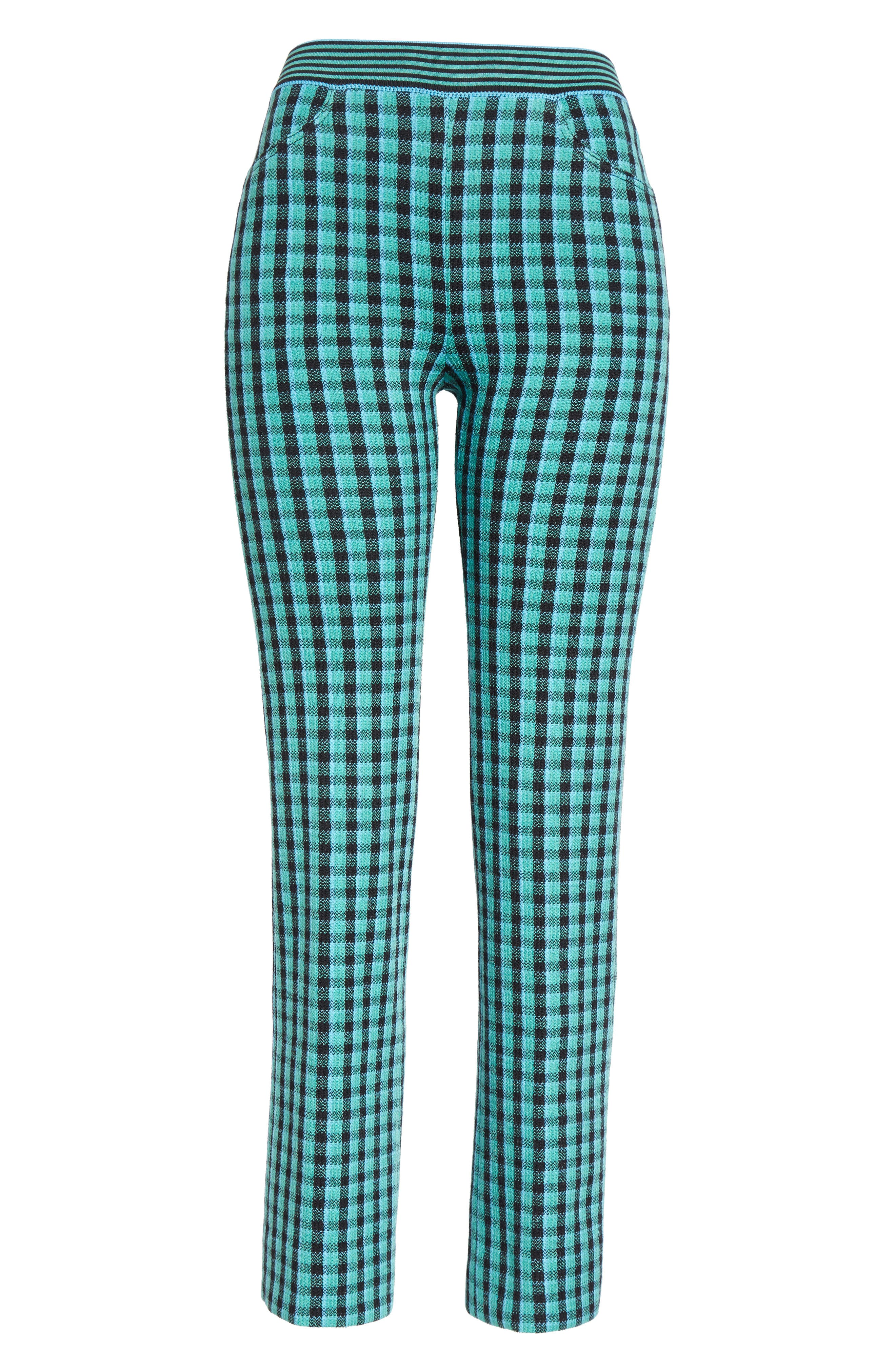 Plaid Stretch Wool Knit Pants,                             Alternate thumbnail 4, color,                             Green/ Blue