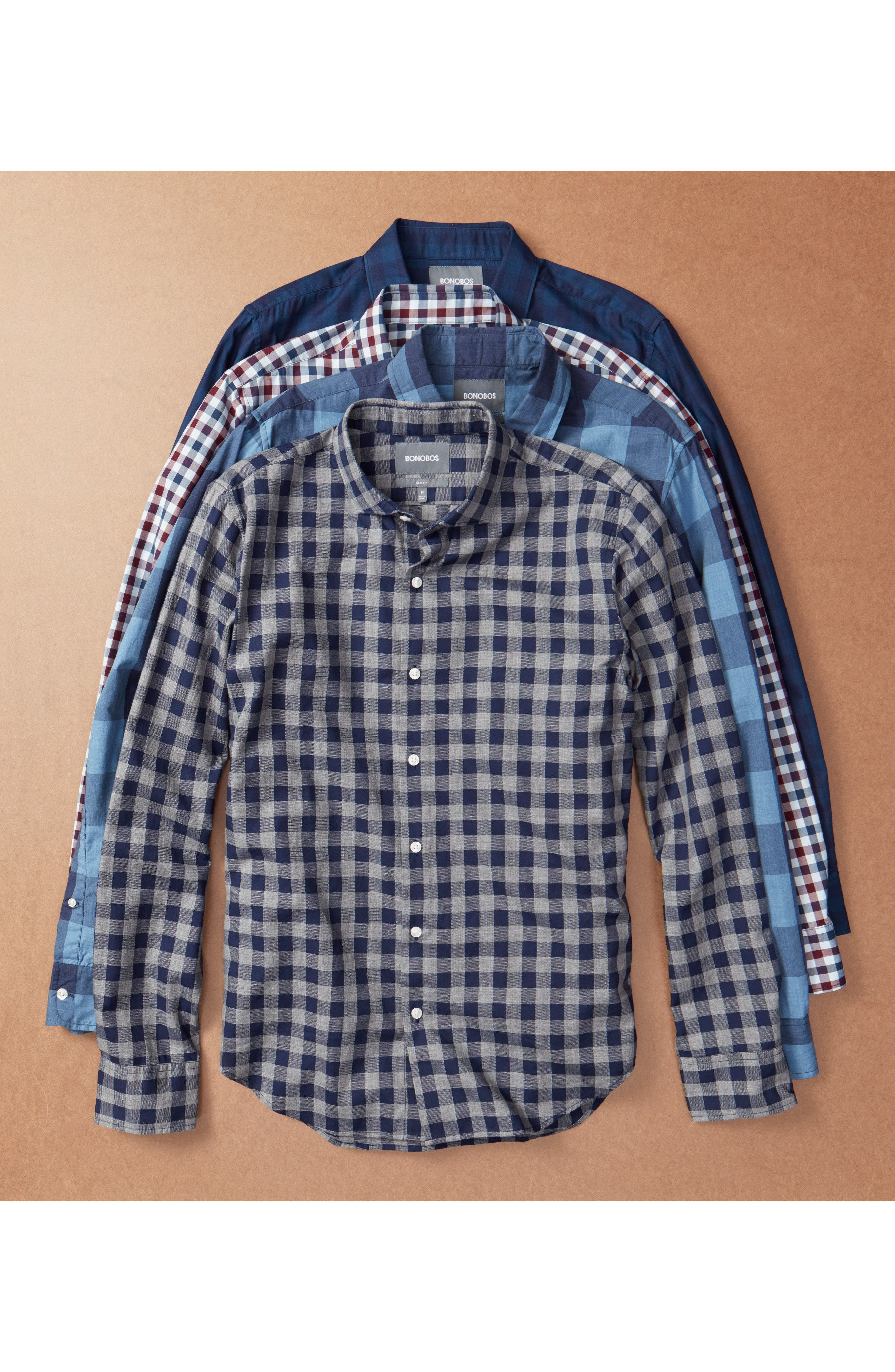 Slim Fit Washed Check Sport Shirt,                             Alternate thumbnail 7, color,                             Blue Grey Plaid