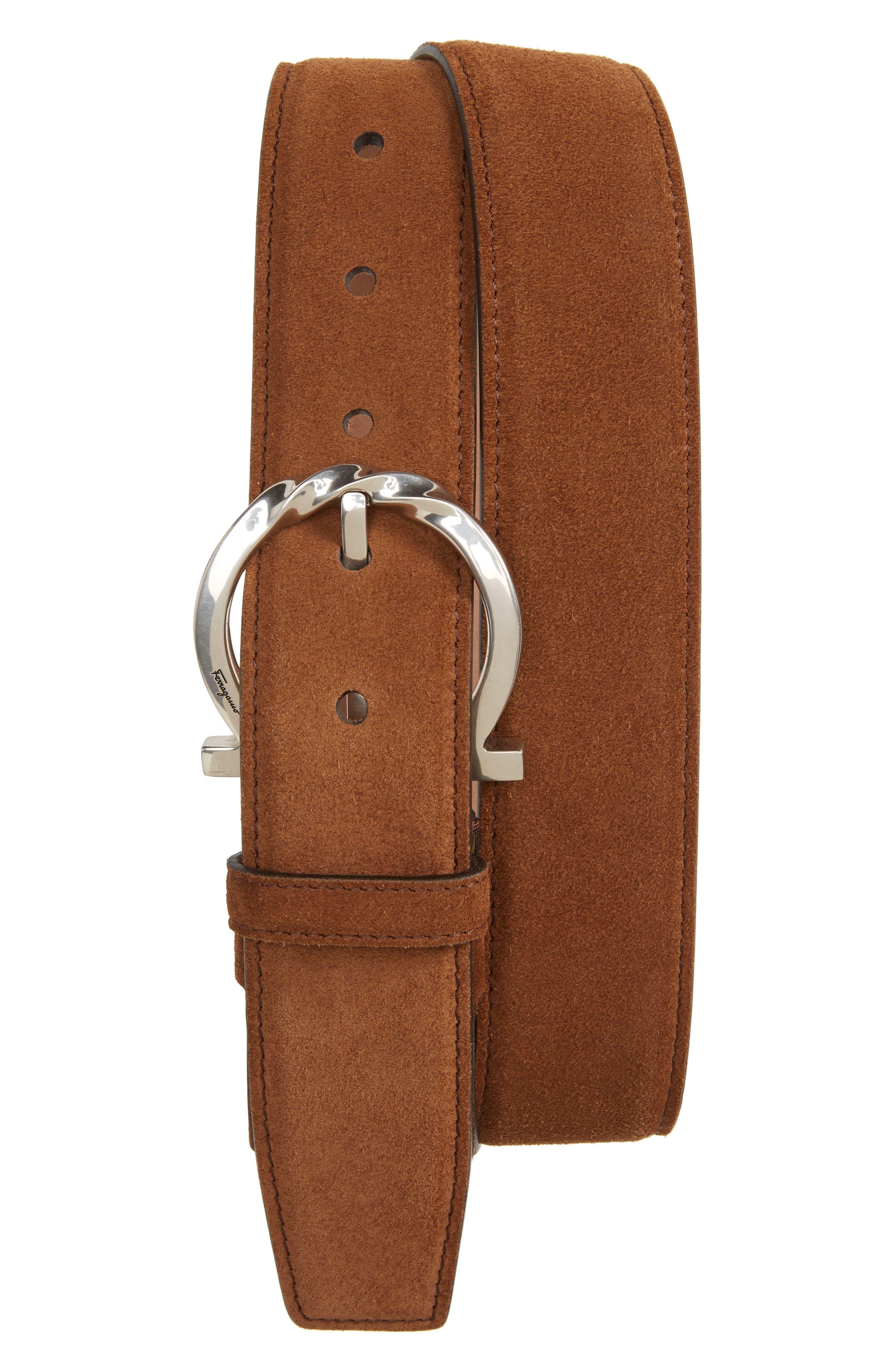Gancini Leather Belt,                         Main,                         color, Castoro Suede