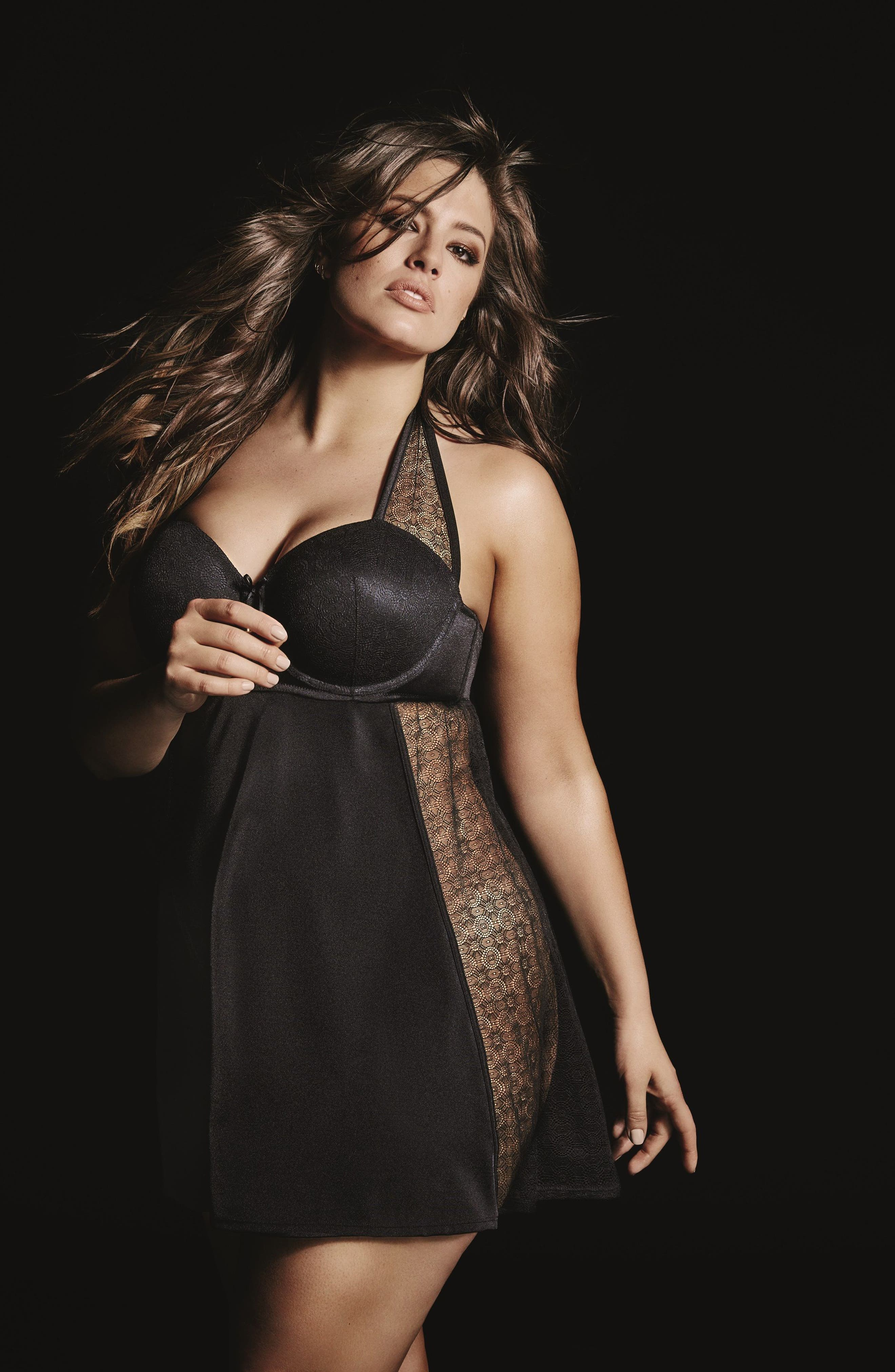 Alternate Image 6  - Ashley Graham Underwire Halter Chemise (Plus Size)