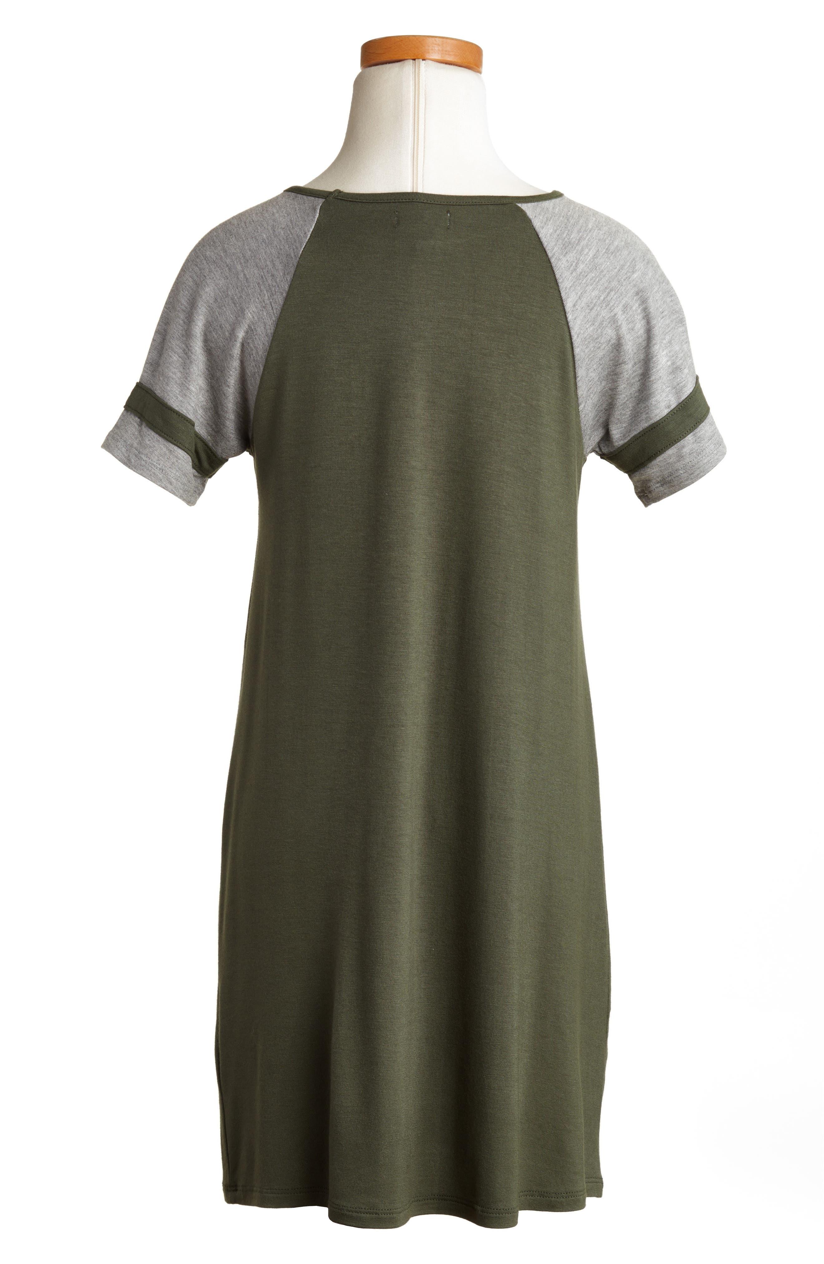 Baseball Dress,                             Alternate thumbnail 2, color,                             Thyme/ Heather Grey