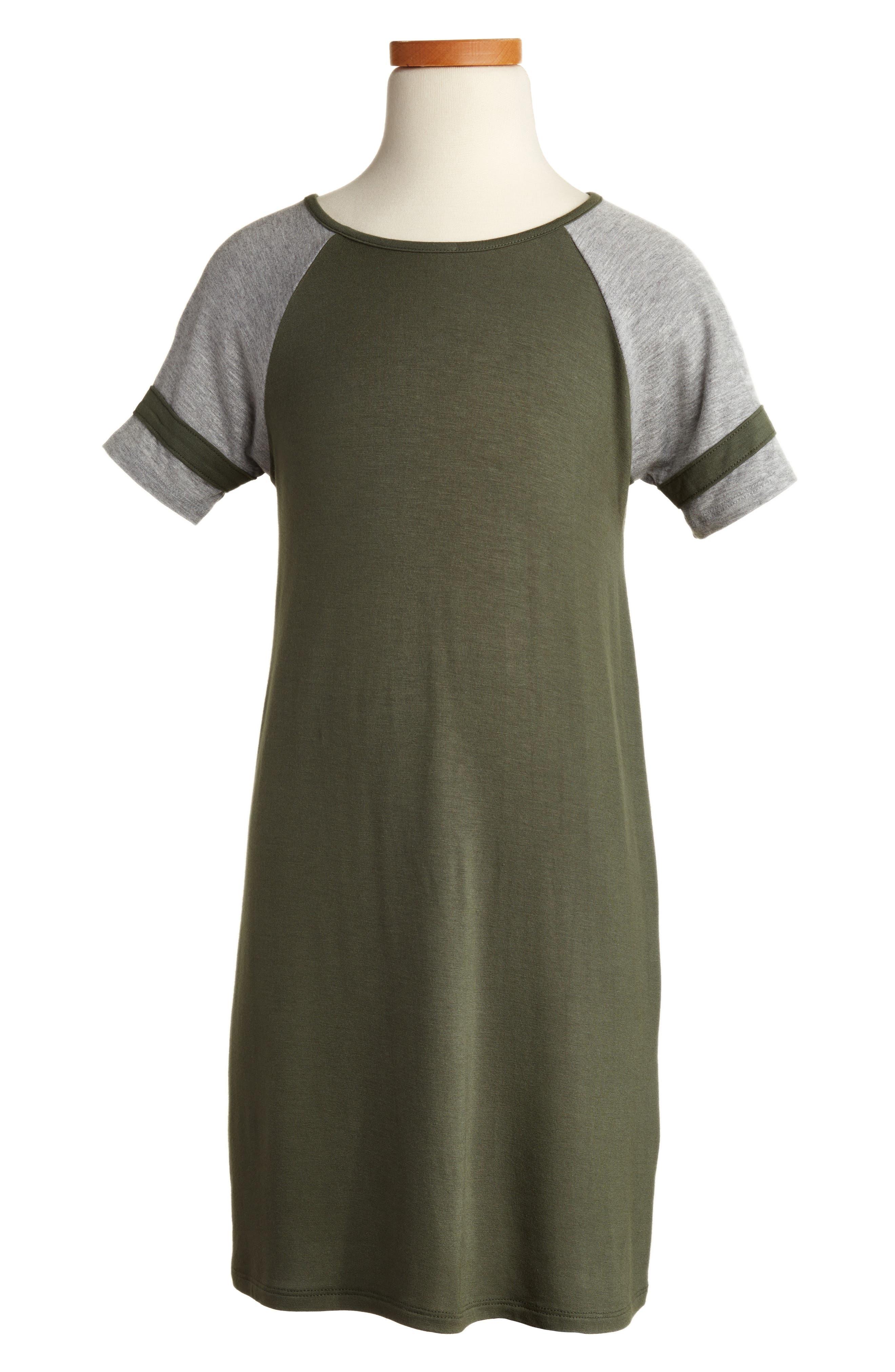 Baseball Dress,                             Main thumbnail 1, color,                             Thyme/ Heather Grey