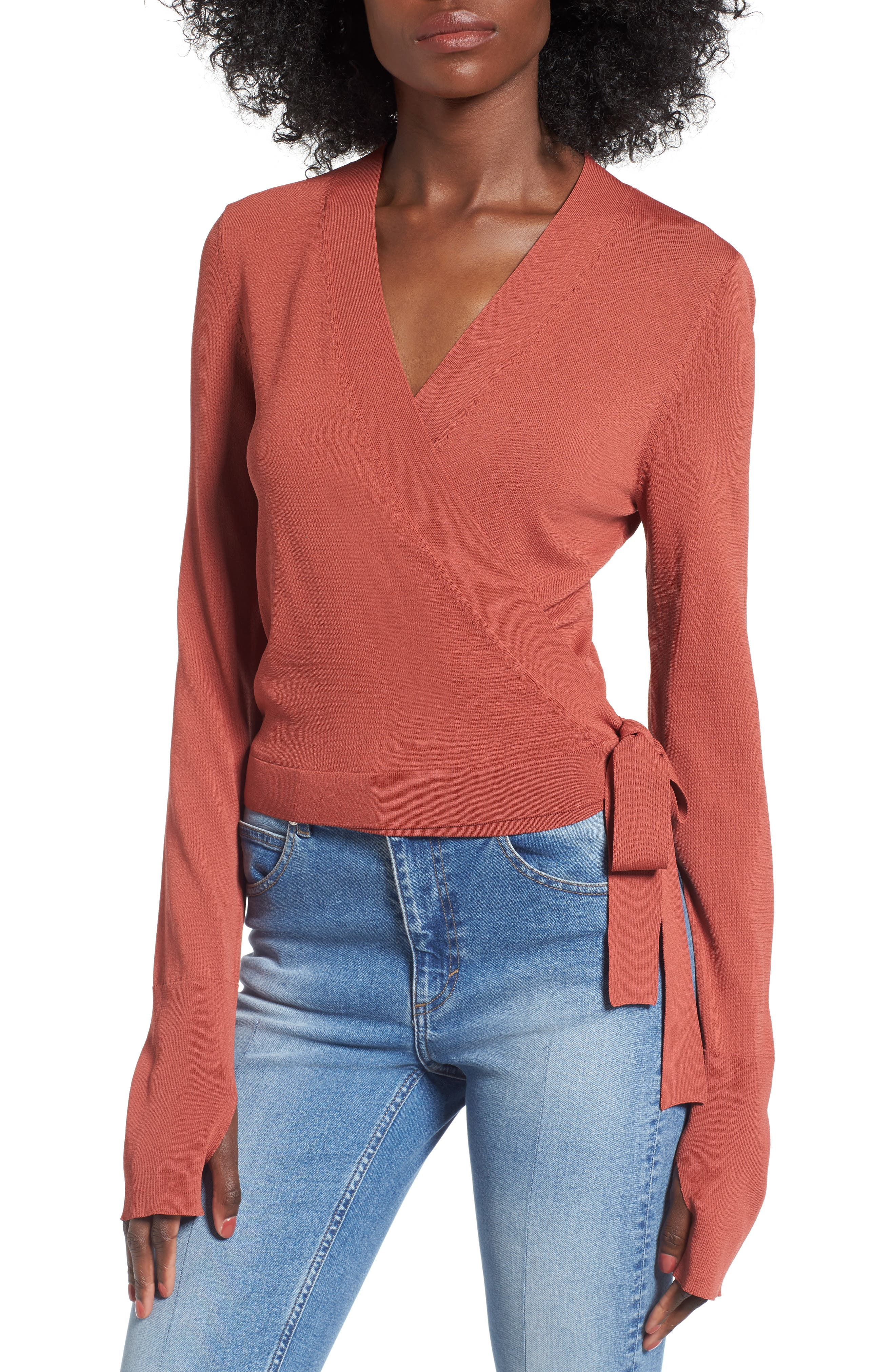 Ballet Wrap Sweater,                         Main,                         color, Rust Marsala